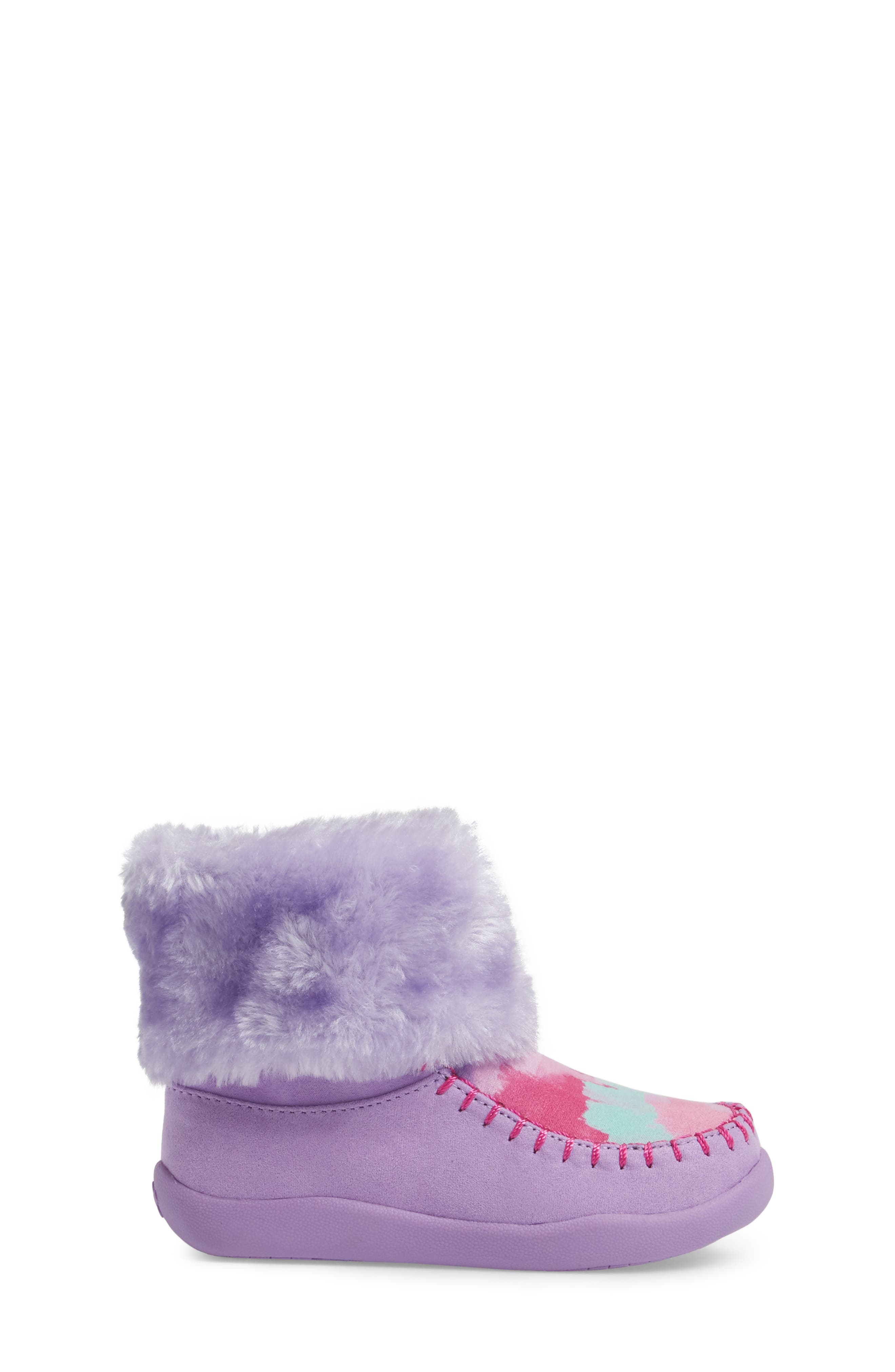 Comfy Faux Fur Patterned Boot,                             Alternate thumbnail 3, color,                             Brush