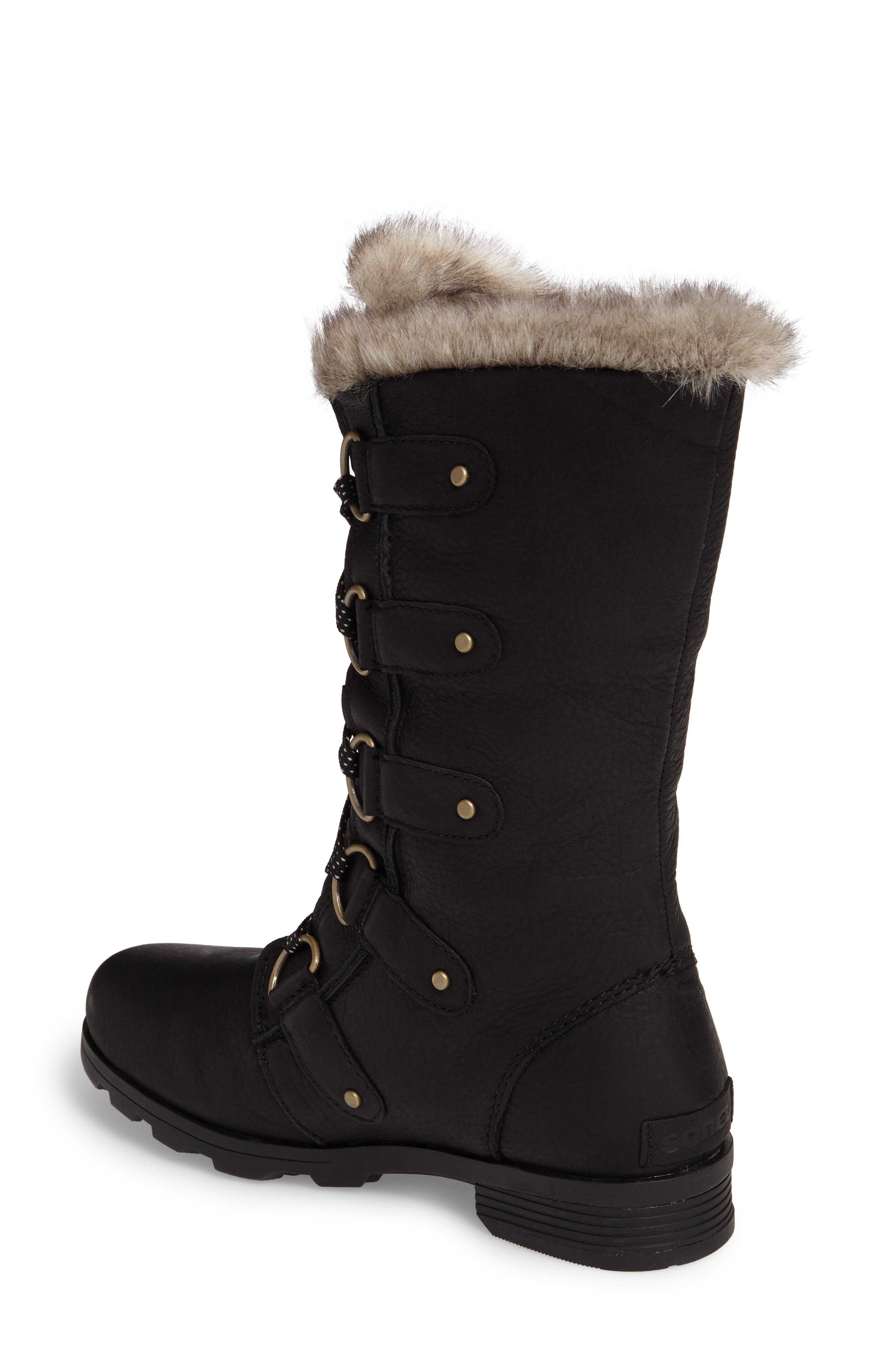 Emelie Waterproof Lace Up Boot with Faux Fur Trim,                             Alternate thumbnail 2, color,                             Black
