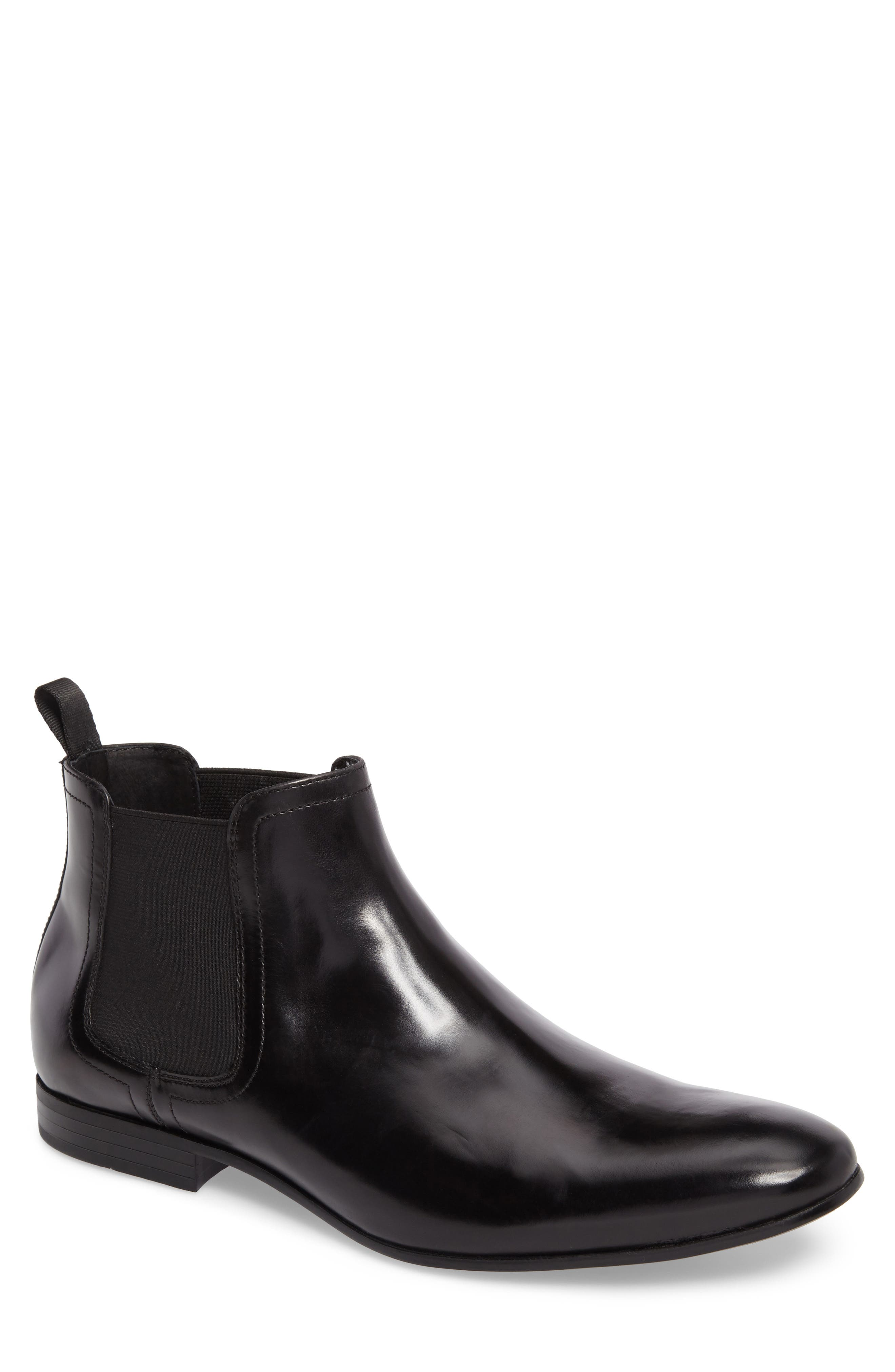 Chelsea Boot,                             Main thumbnail 1, color,                             Black Leather