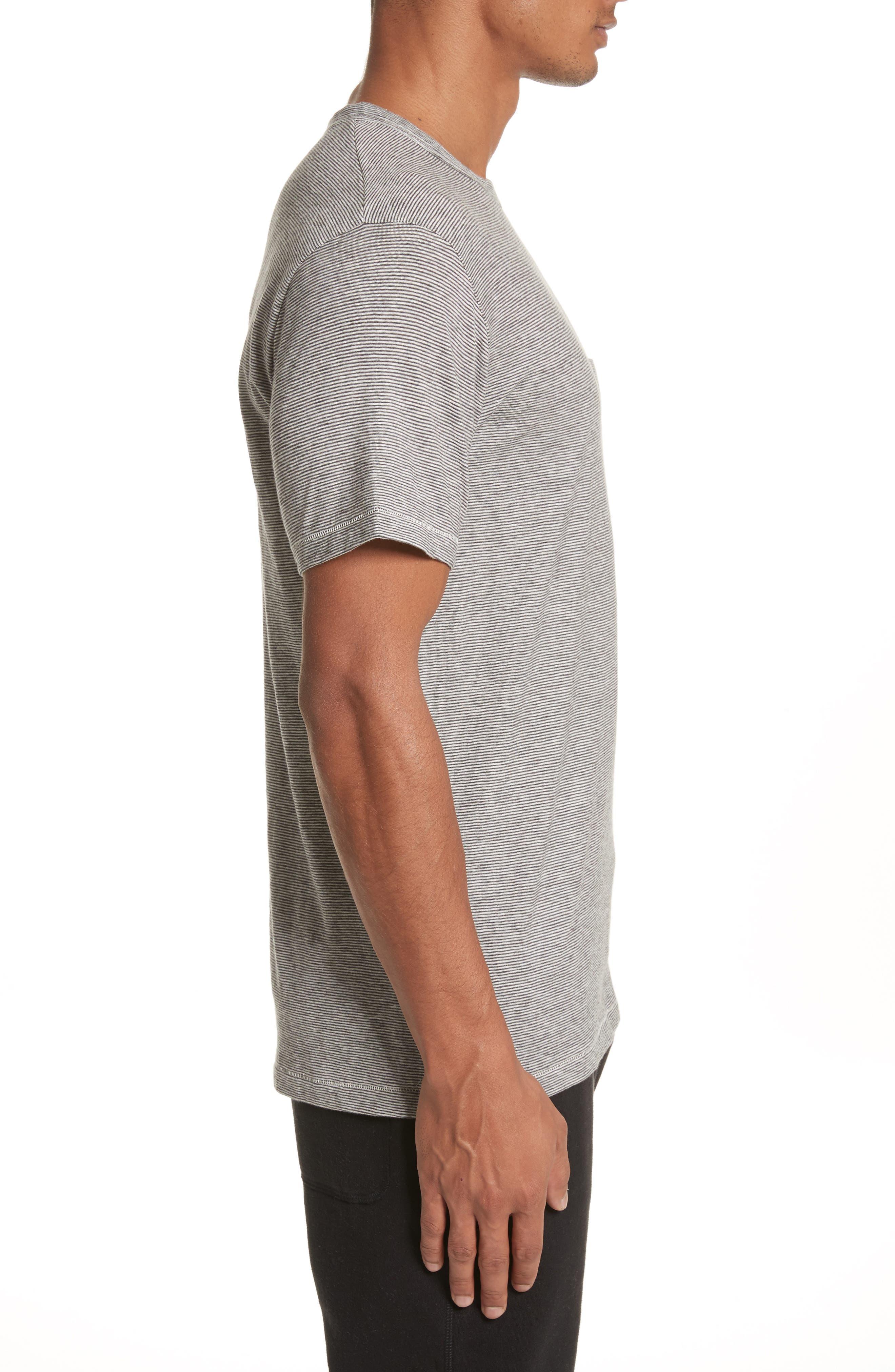Microstripe Pocket T-Shirt,                             Alternate thumbnail 3, color,                             Ivory