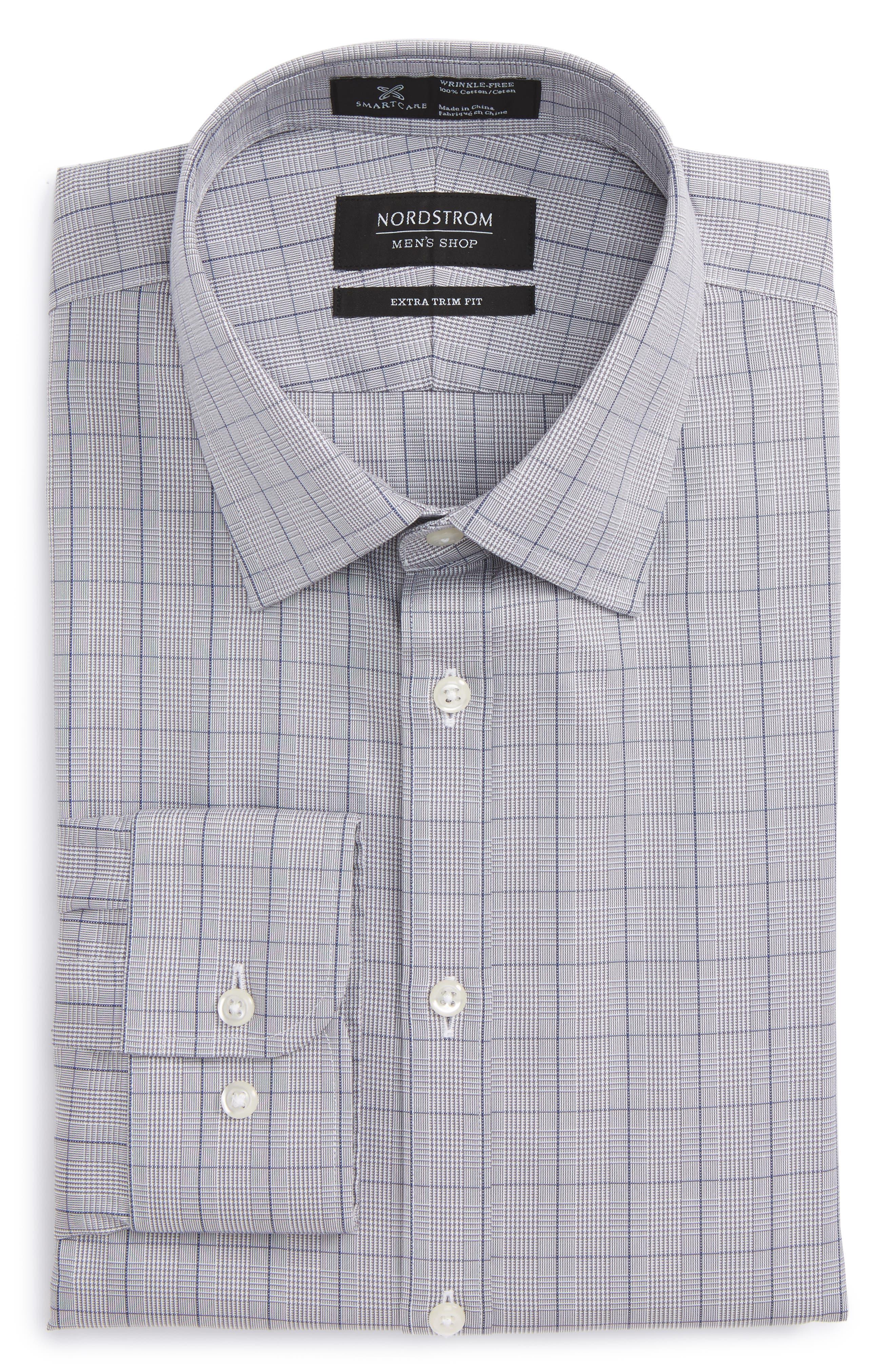 Smartcare<sup>™</sup> Extra Trim Fit Plaid Dress Shirt,                             Alternate thumbnail 6, color,                             Grey Filigree