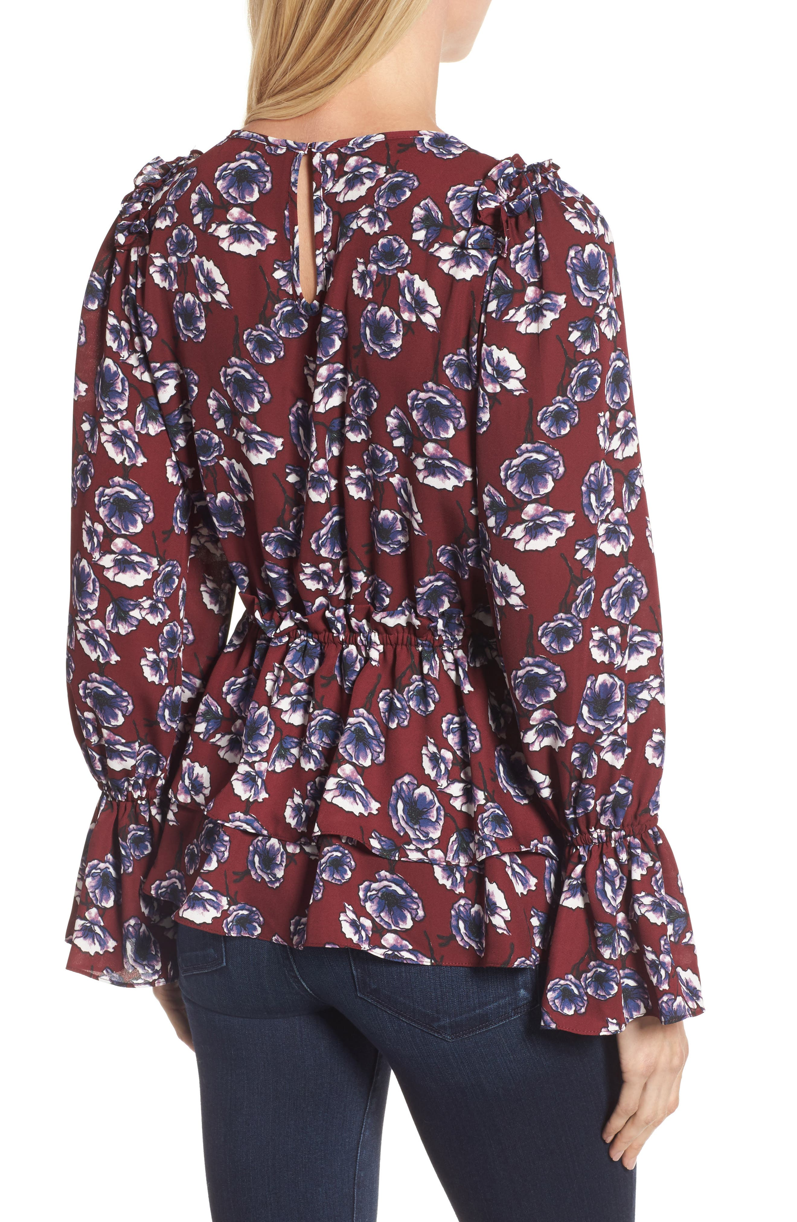 Alternate Image 2  - Halogen® Floral Ruffle Blouse