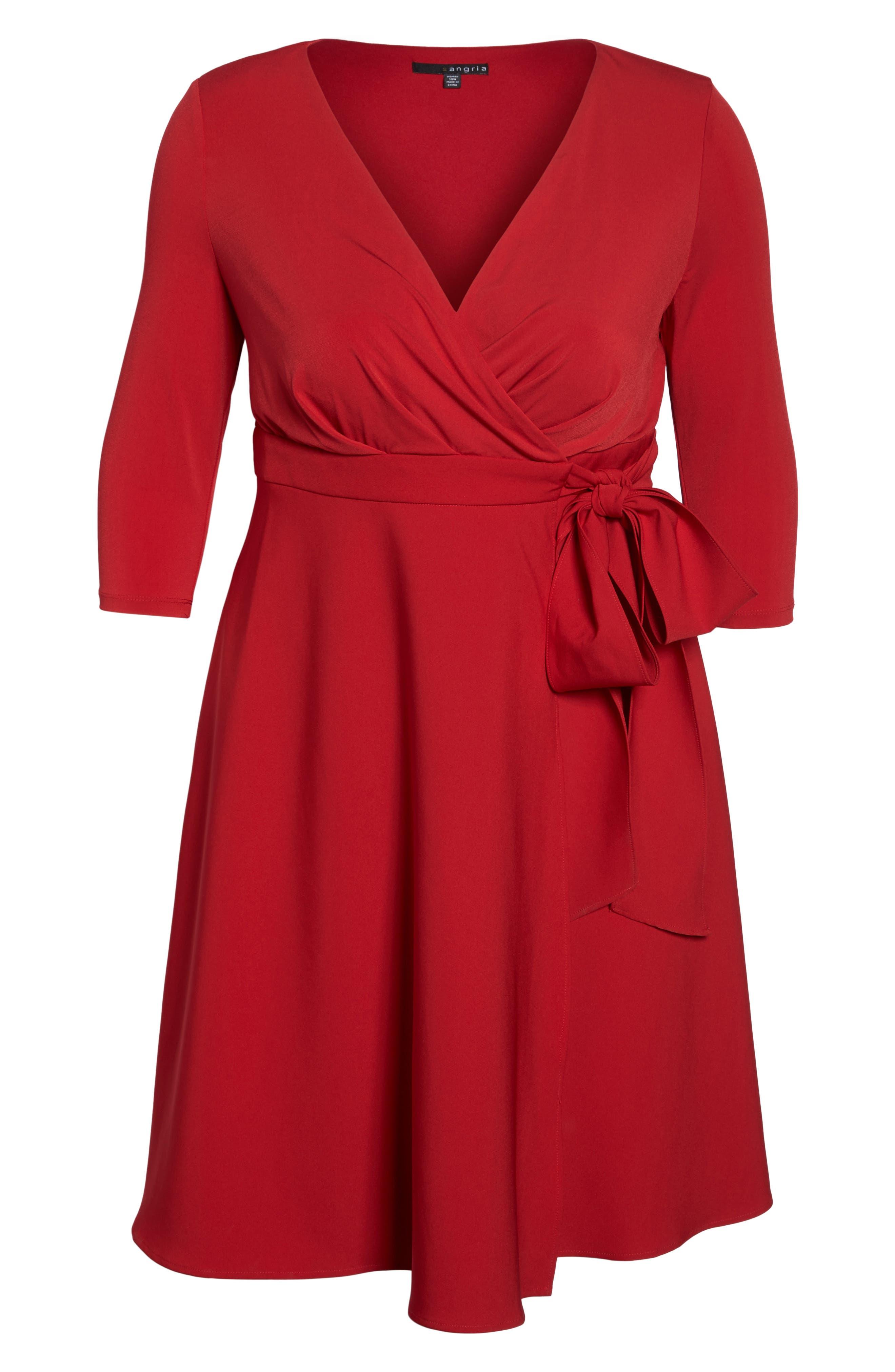 Alternate Image 6  - Sangria Fit & Flare Wrap Dress (Plus Size)