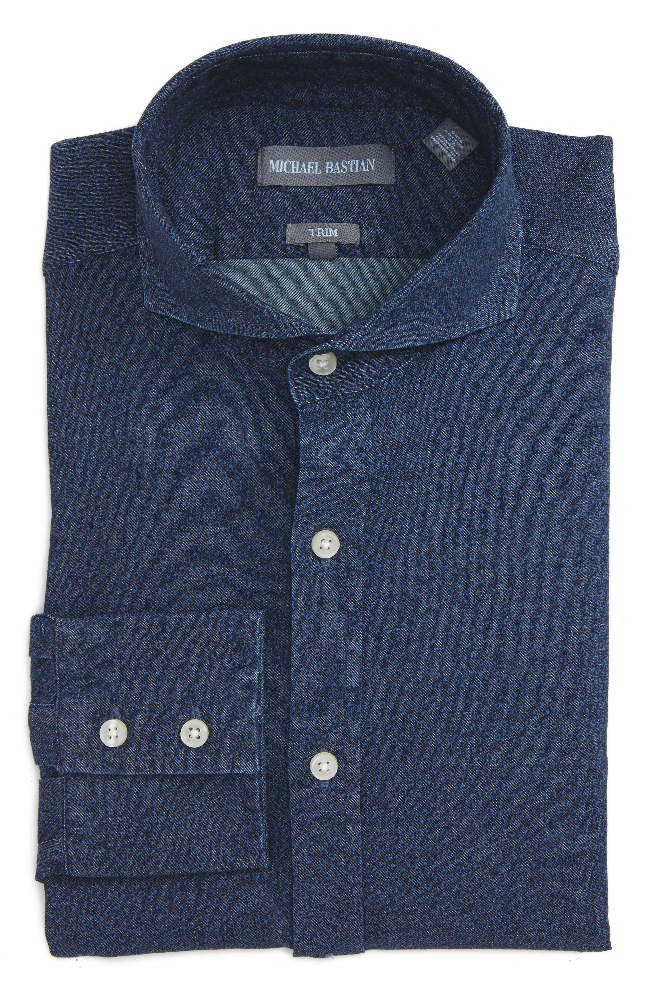 Michael Bastian Trim Fit Cotton Twill Dress Shirt