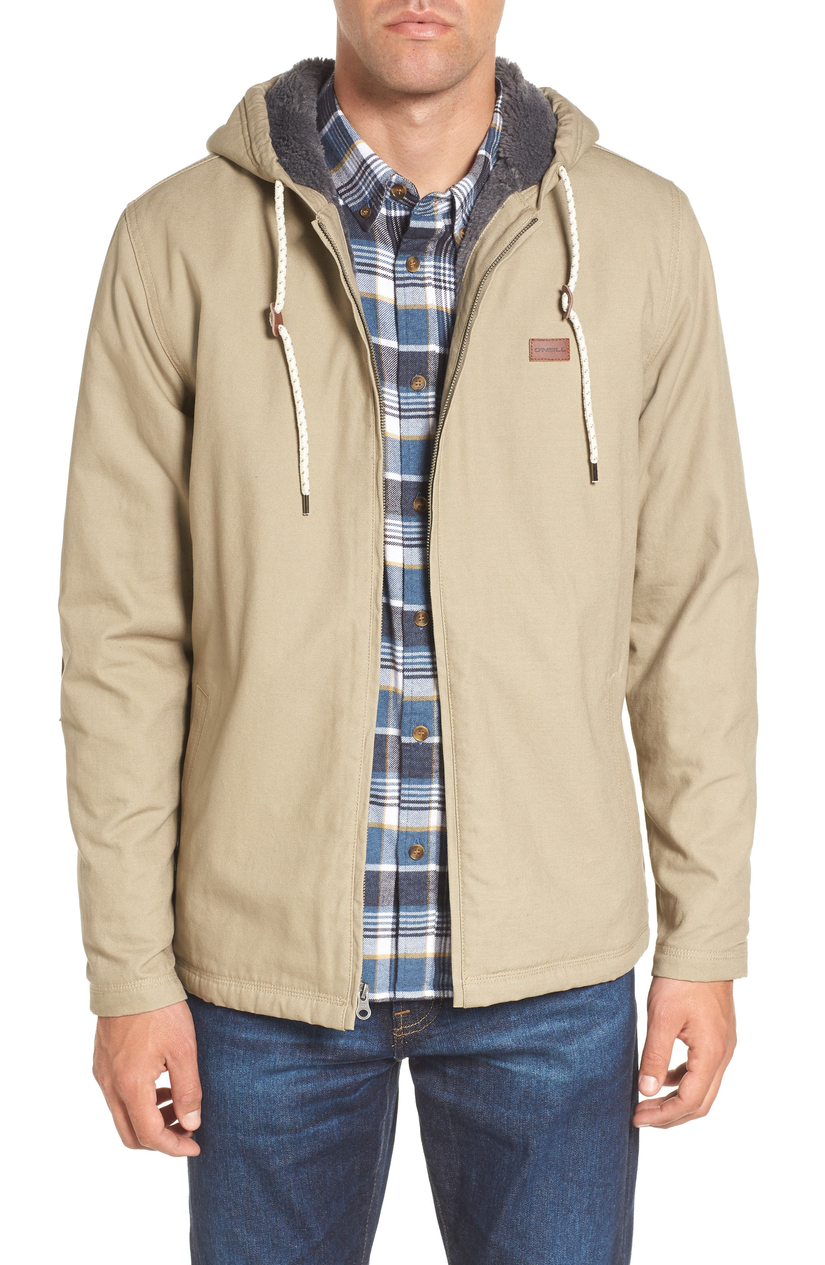 Colton Faux Shearling Trim Hooded Jacket,                         Main,                         color, Khaki