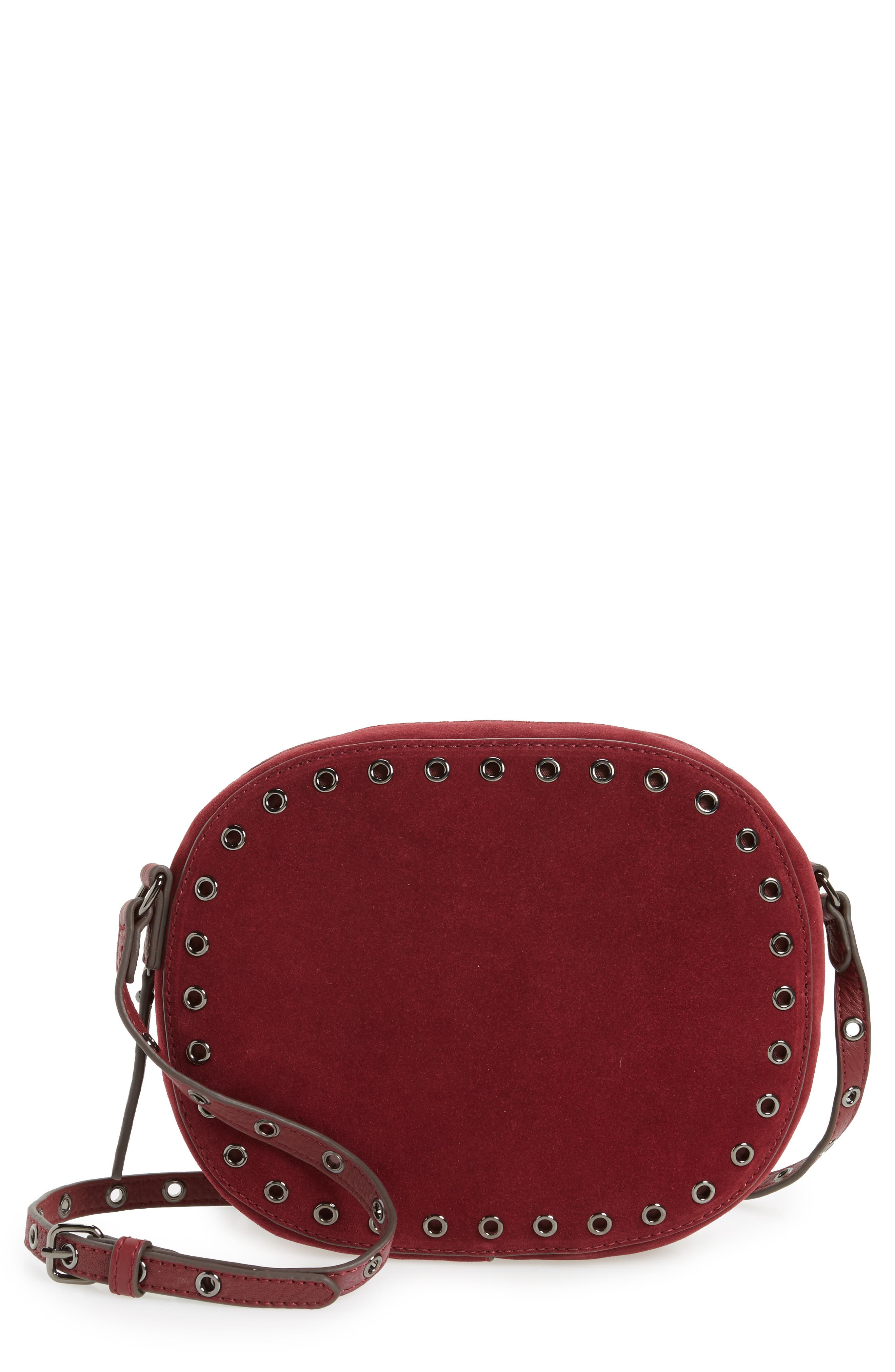 Alternate Image 1 Selected - Vince Camuto Areli Suede & Leather Crossbody Bag
