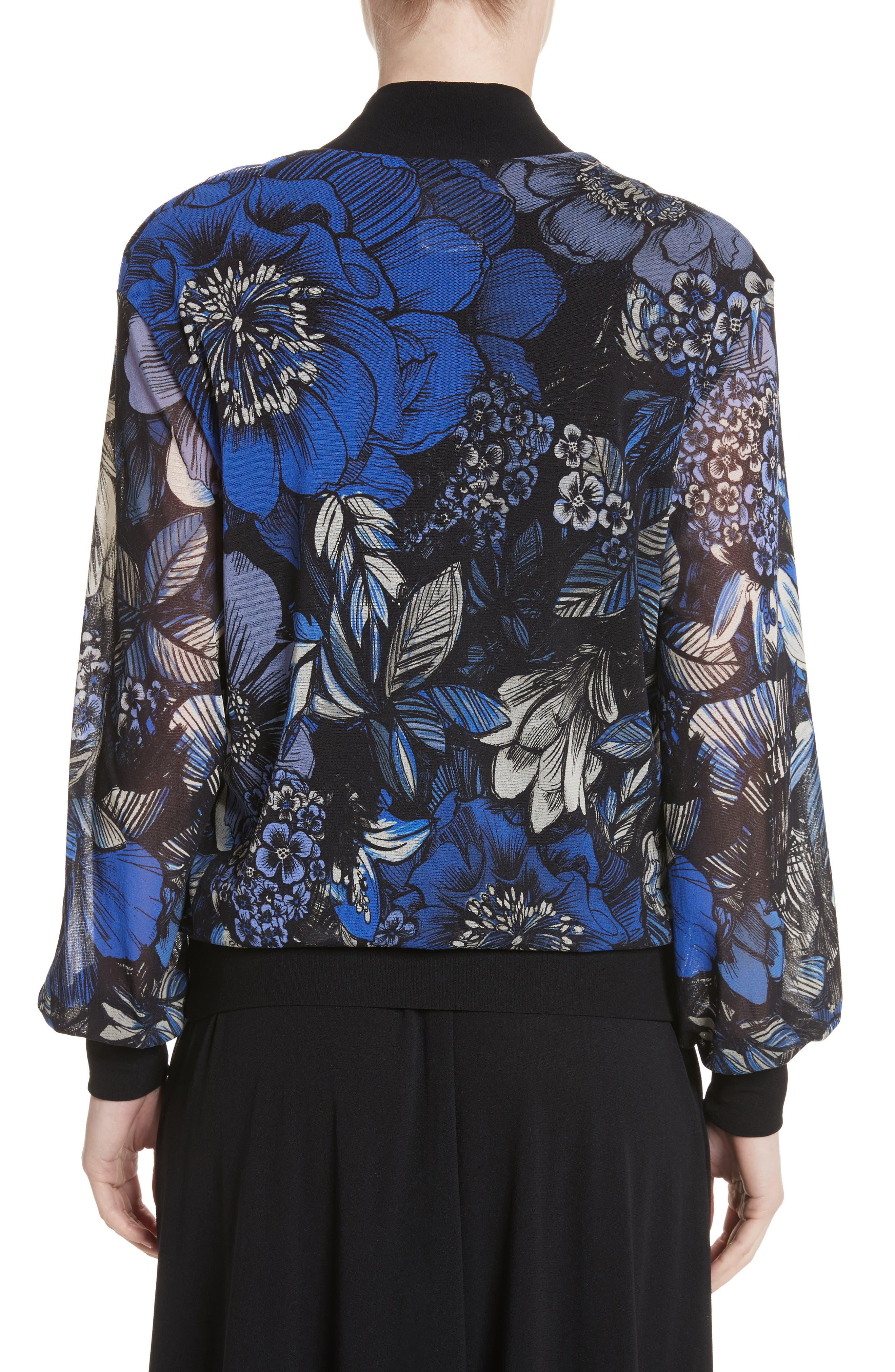 Print Tulle Bomber Jacket,                             Alternate thumbnail 2, color,                             Oltremare