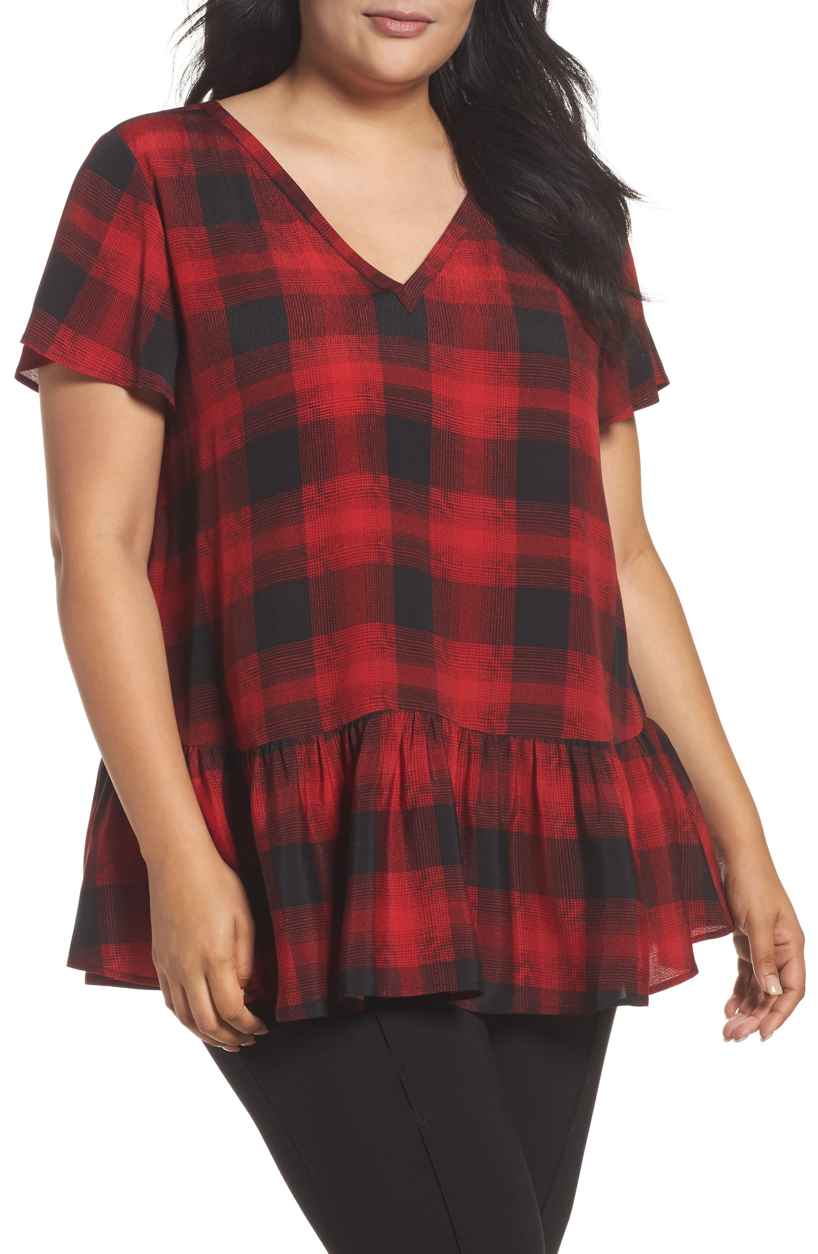 V-Neck Peplum Top,                         Main,                         color, Black- Red Grady Plaid