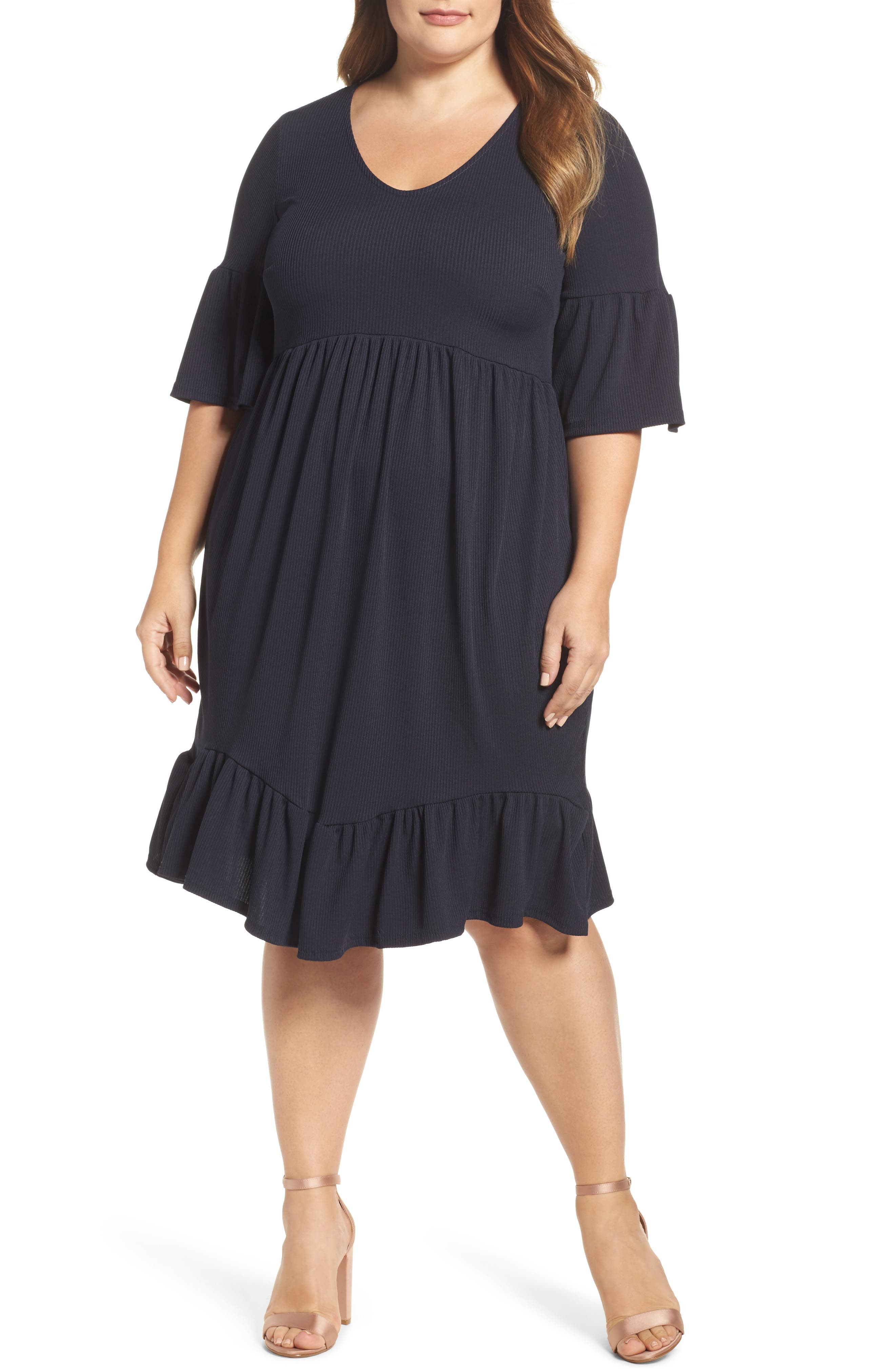 Main Image - LOST INK Ruffle Ribbed Knit Dress (Plus Size)