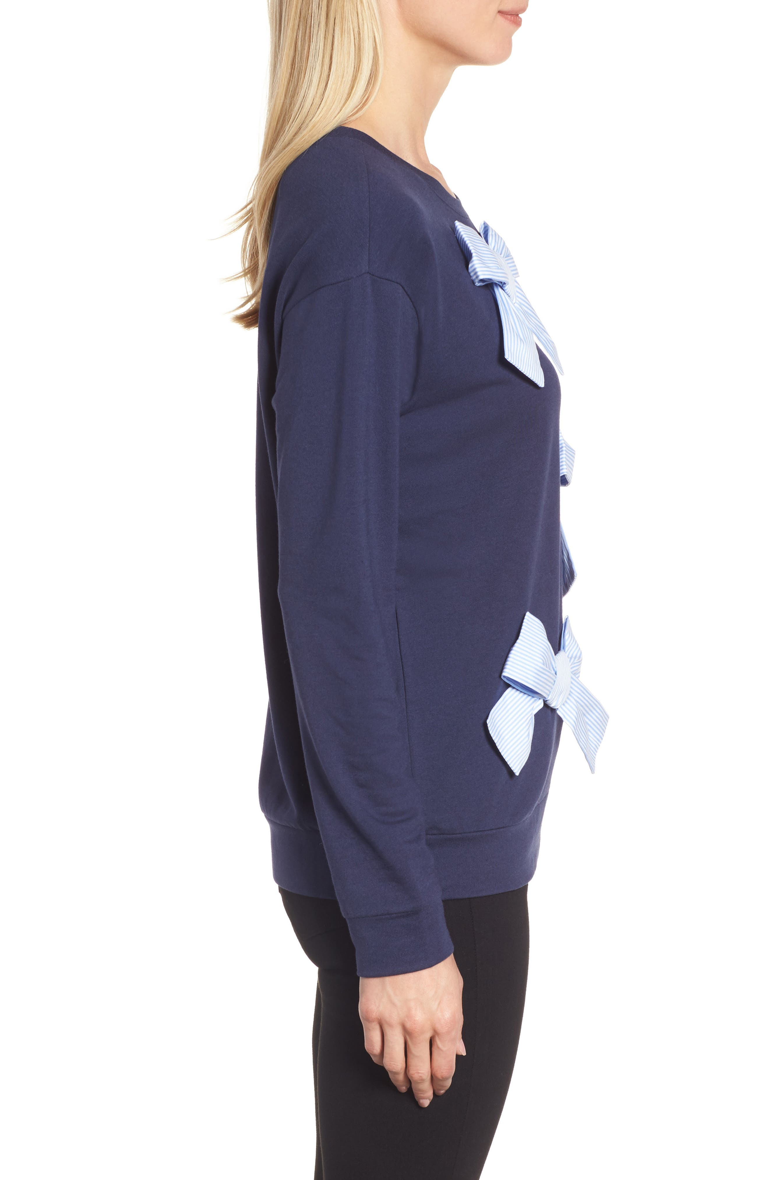 Bow Detail Sweatshirt,                             Alternate thumbnail 4, color,                             Navy Peacoat