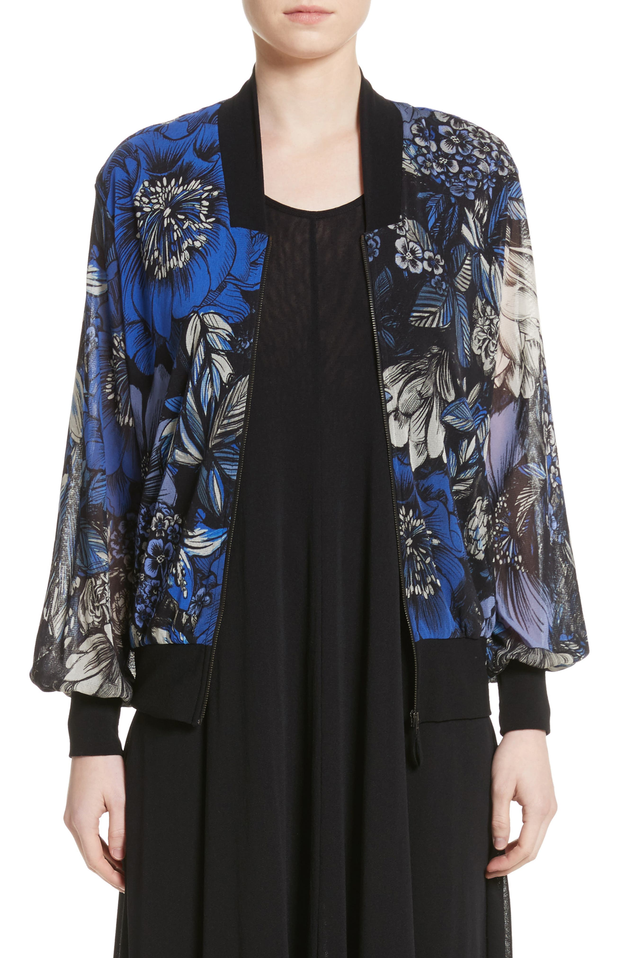 Print Tulle Bomber Jacket,                             Main thumbnail 1, color,                             Oltremare