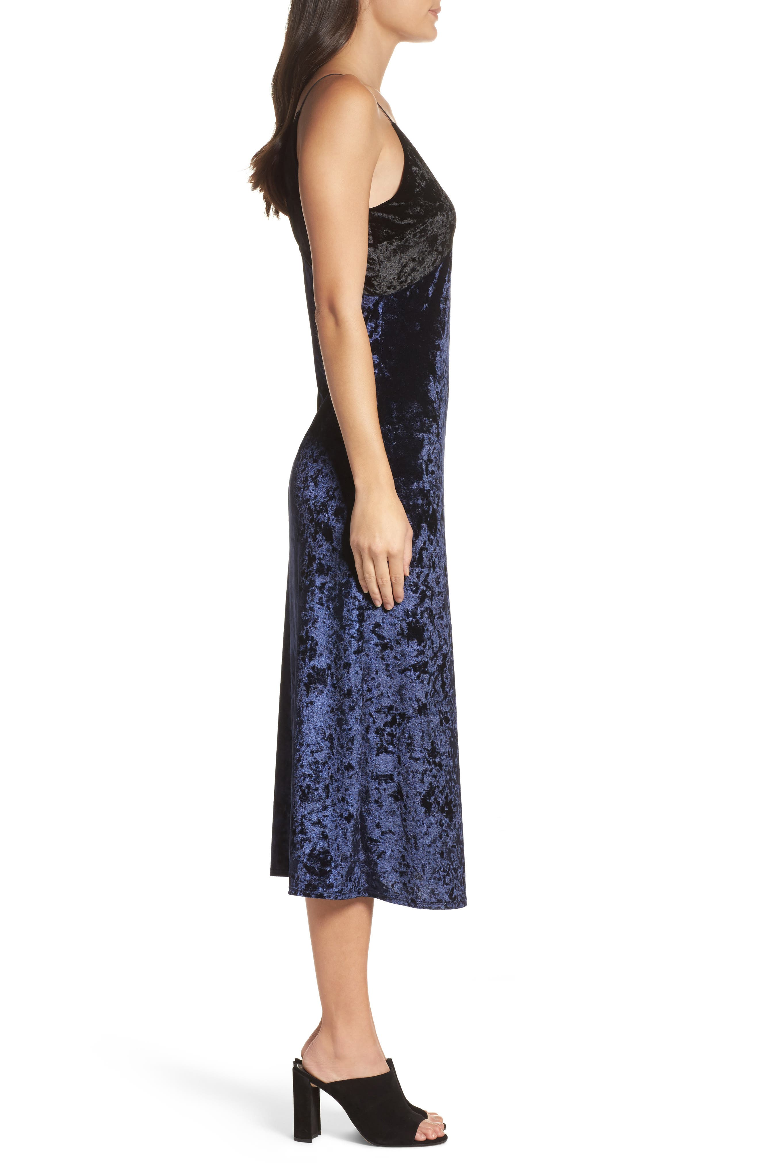 Crushed Velvet Slipdress,                             Alternate thumbnail 3, color,                             Navy/ Black