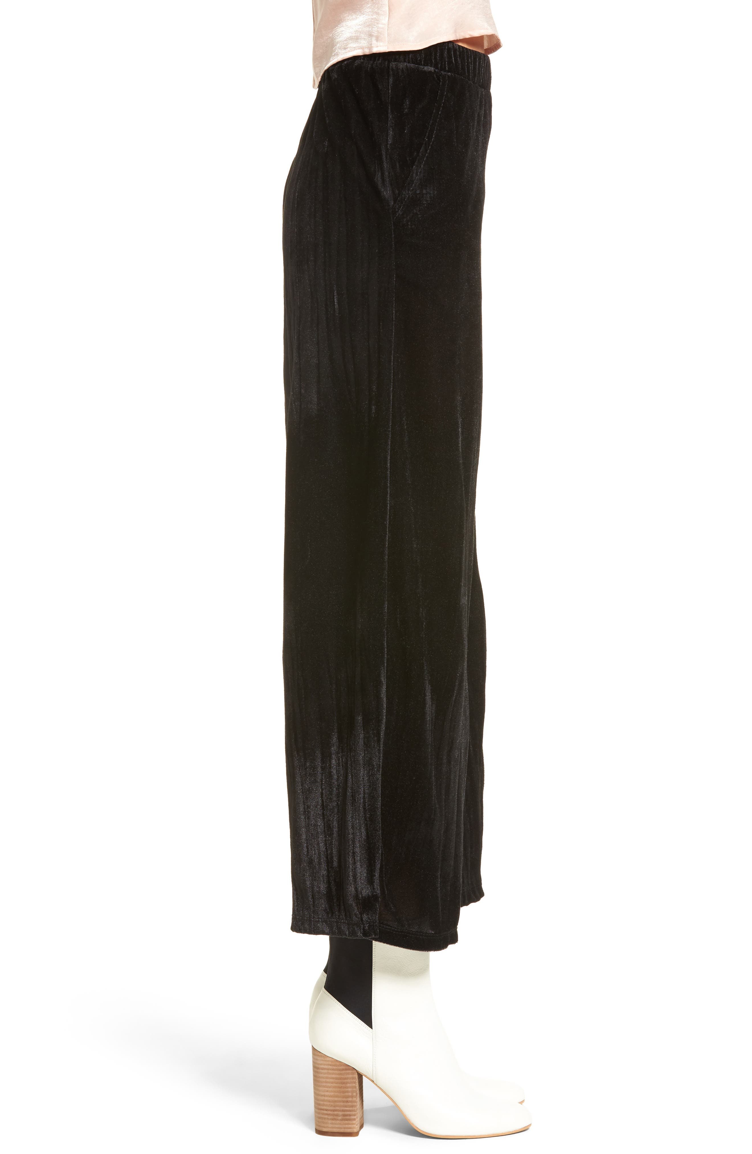 Velvet Culottes,                             Alternate thumbnail 3, color,                             Black