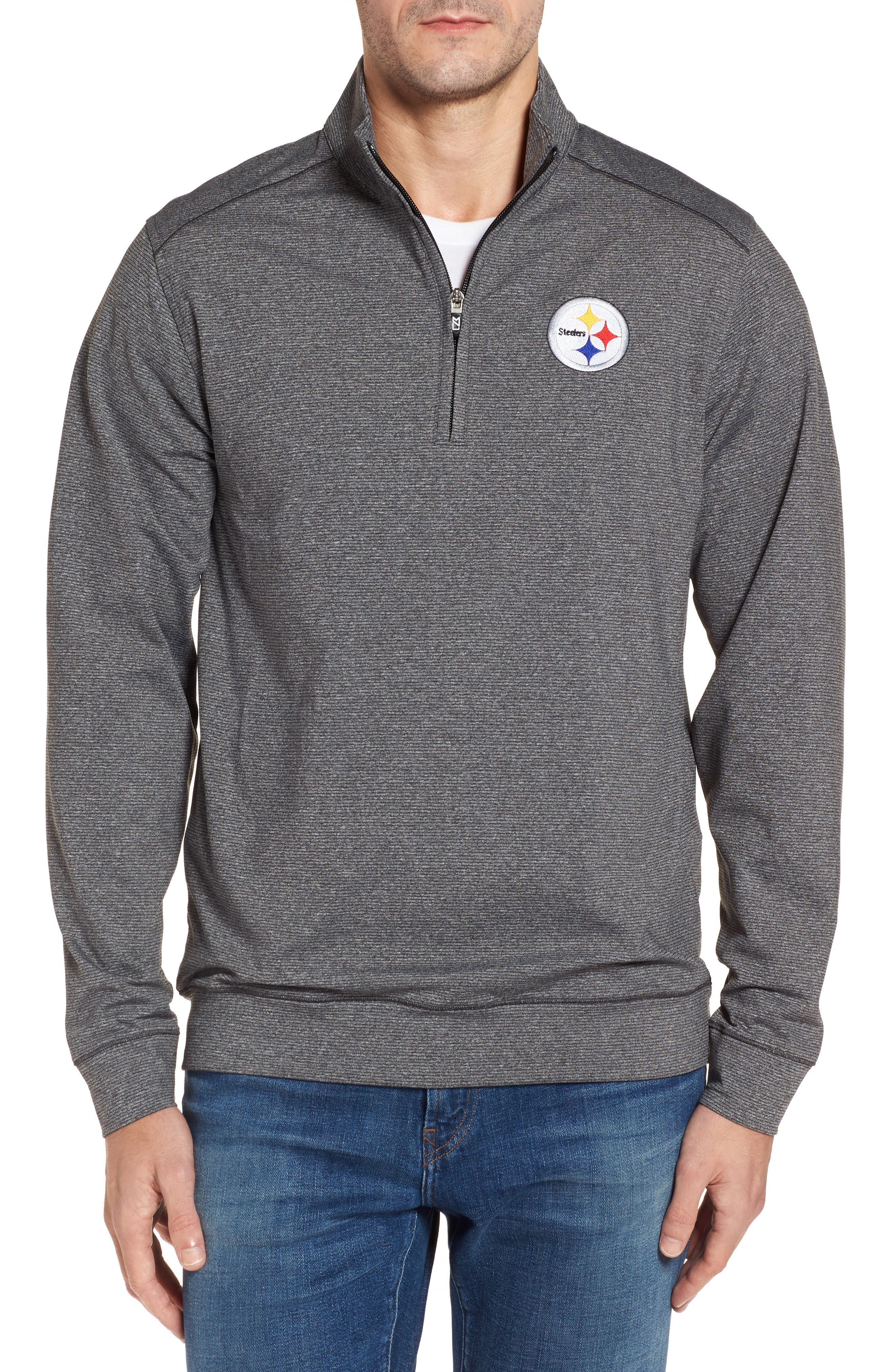 Shoreline - Pittsburgh Steelers Half Zip Pullover,                         Main,                         color, Charcoal Heather