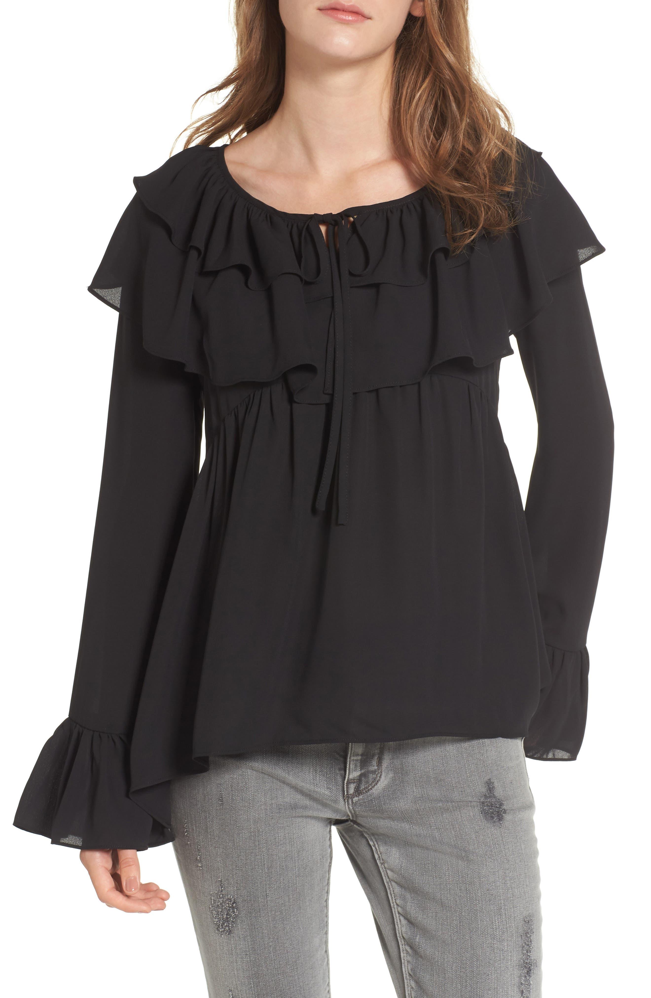 Layered Ruffle Blouse,                         Main,                         color, Black