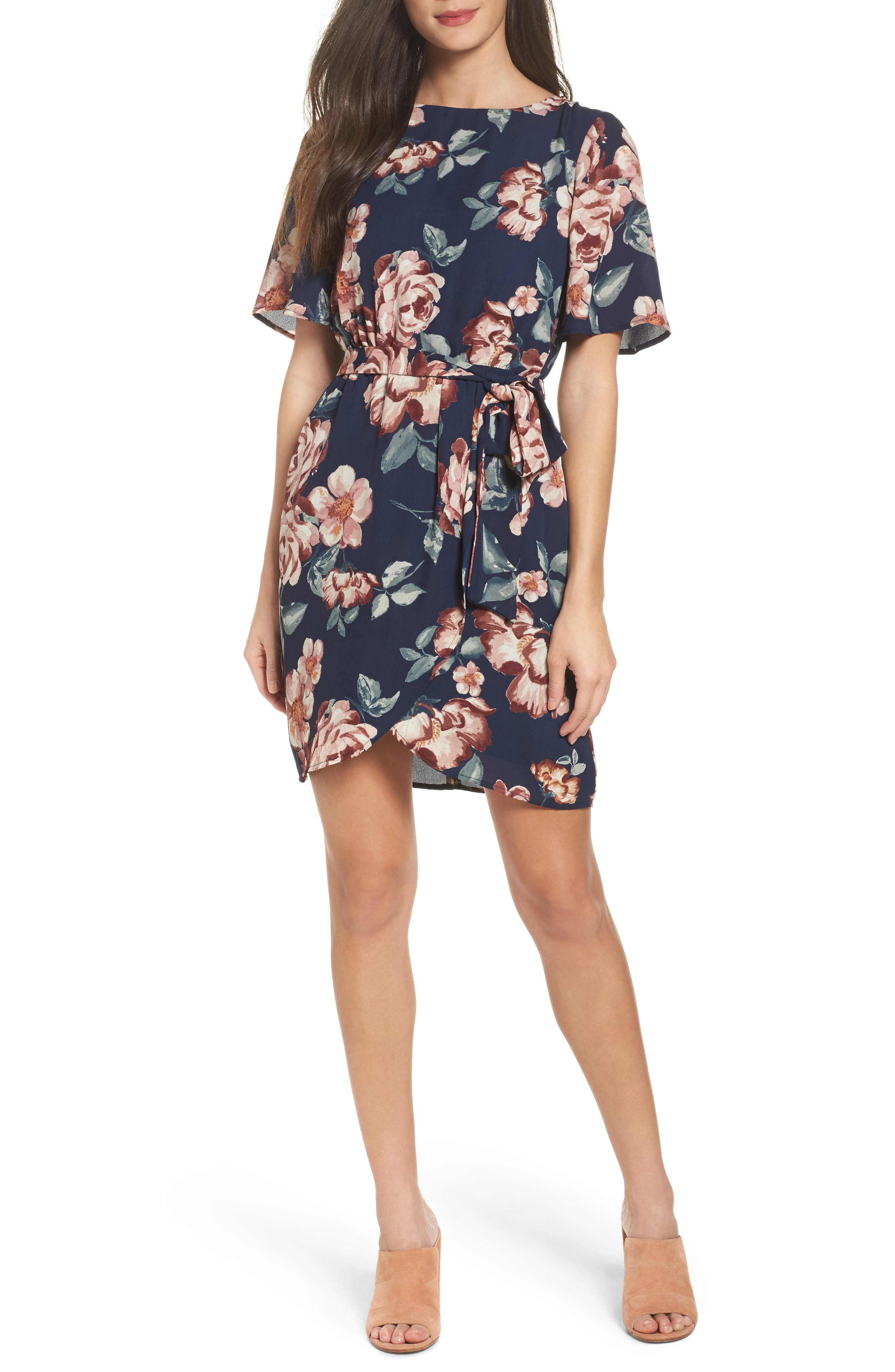 Charles Henry Flutter Sleeve Shift Dress (Regular & Petite)