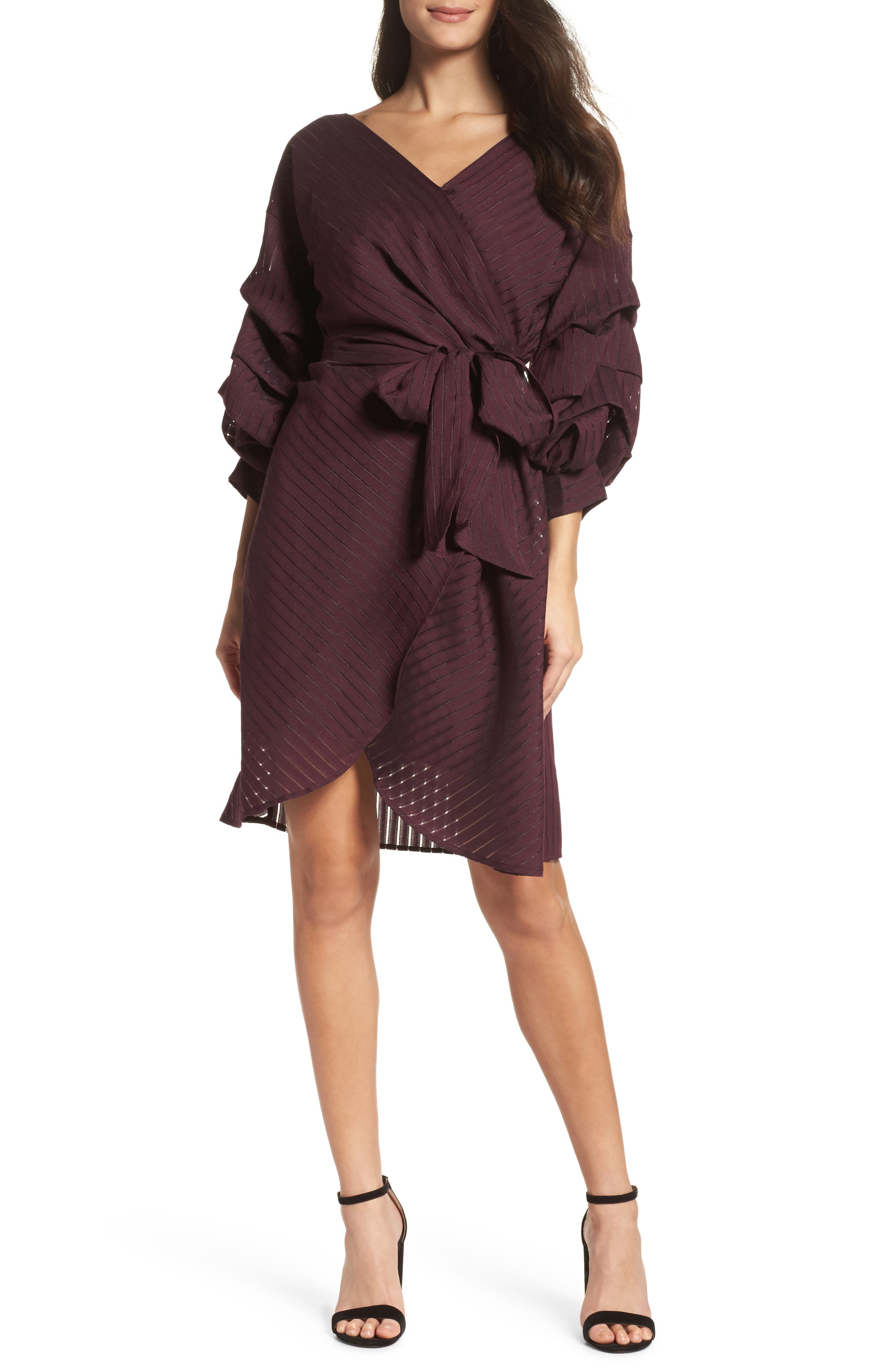 Shadow Stripe Wrap Dress,                         Main,                         color, Burgundy Stem