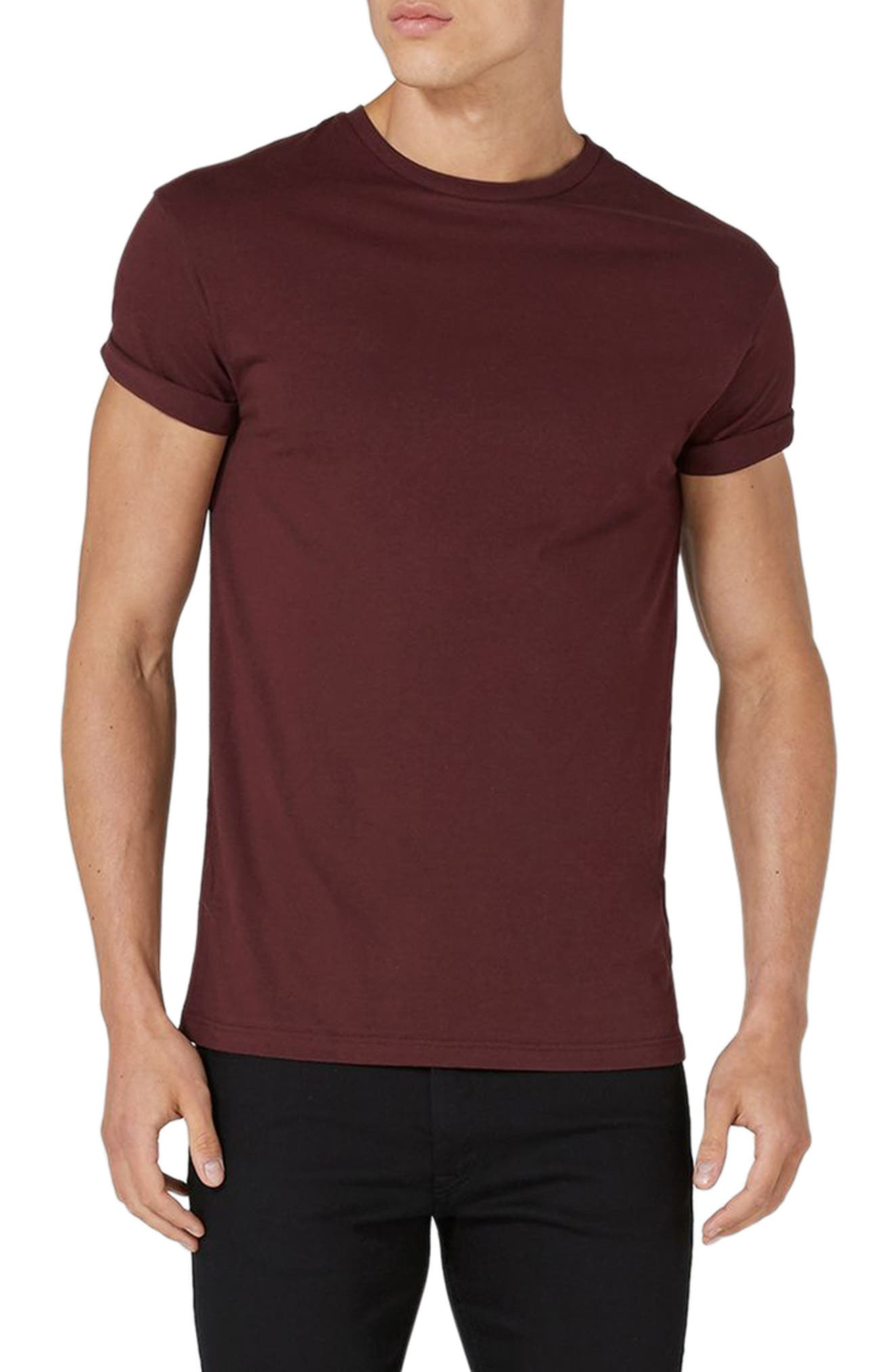 Muscle Fit Roller T-Shirt,                             Main thumbnail 1, color,                             Burgundy