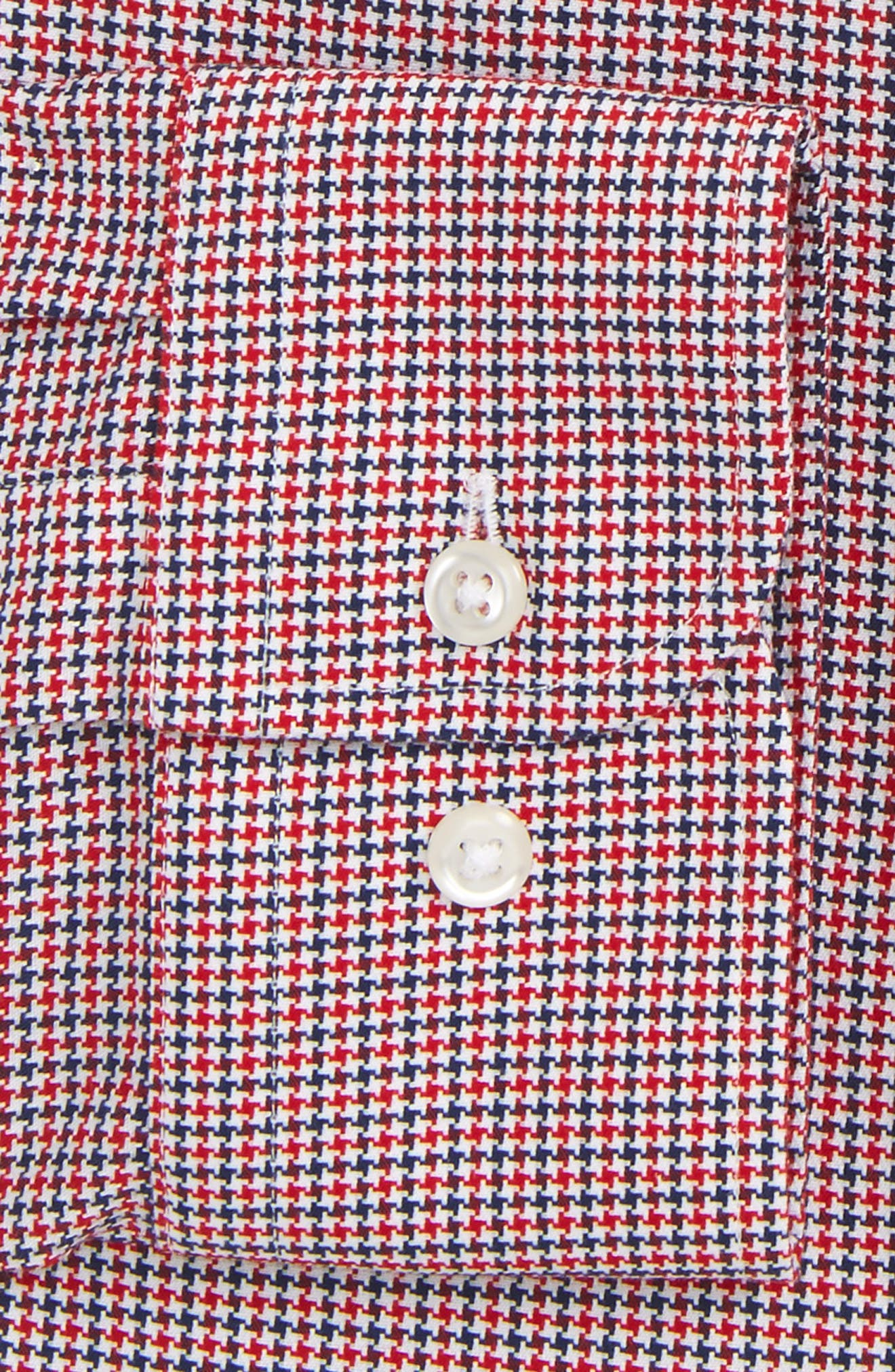 Smartcare<sup>™</sup> Extra Trim Fit Houndstooth Dress Shirt,                             Alternate thumbnail 5, color,                             Red Chili