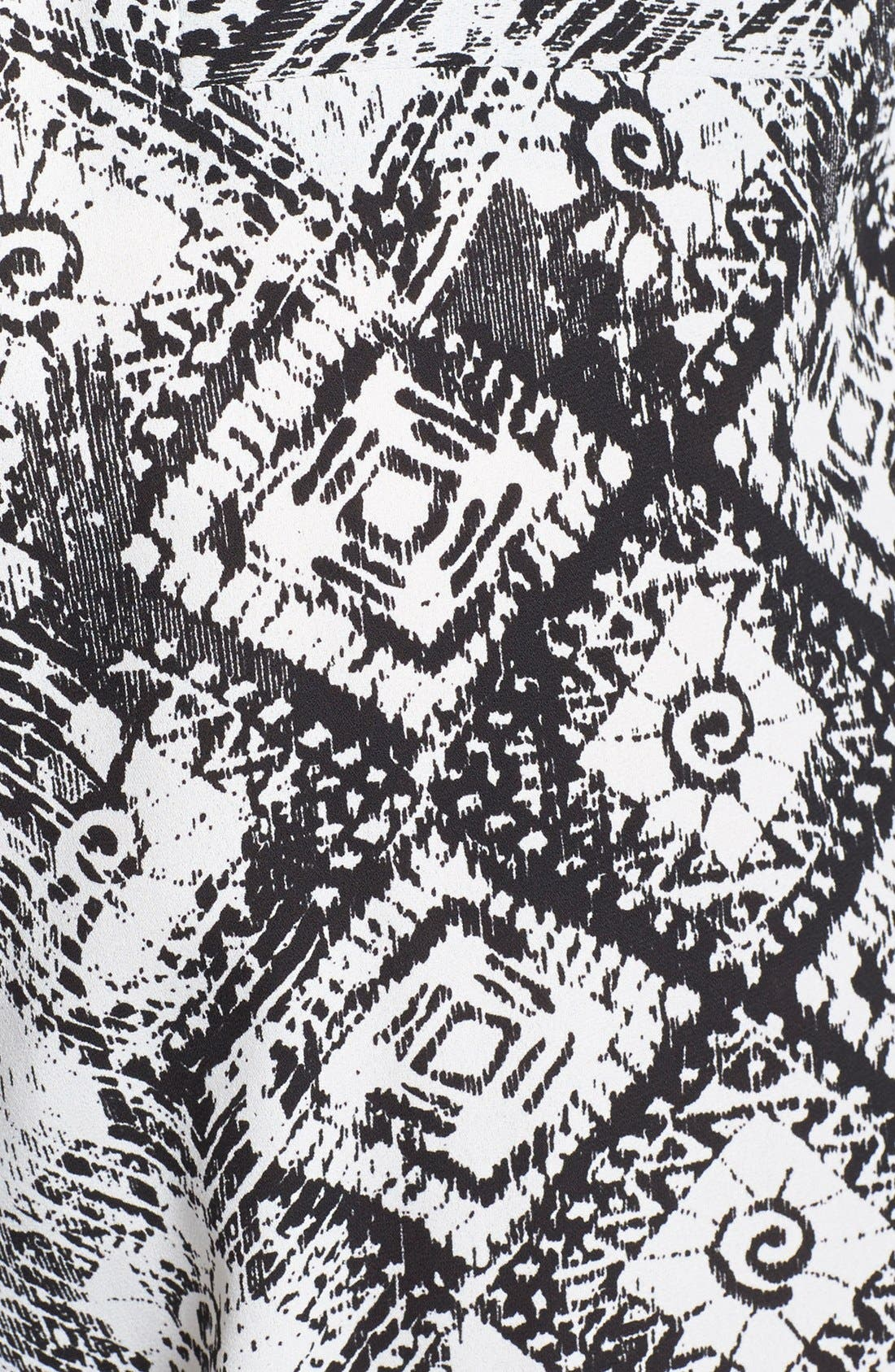 Print Crepe Jumpsuit,                             Alternate thumbnail 3, color,                             Black/ White