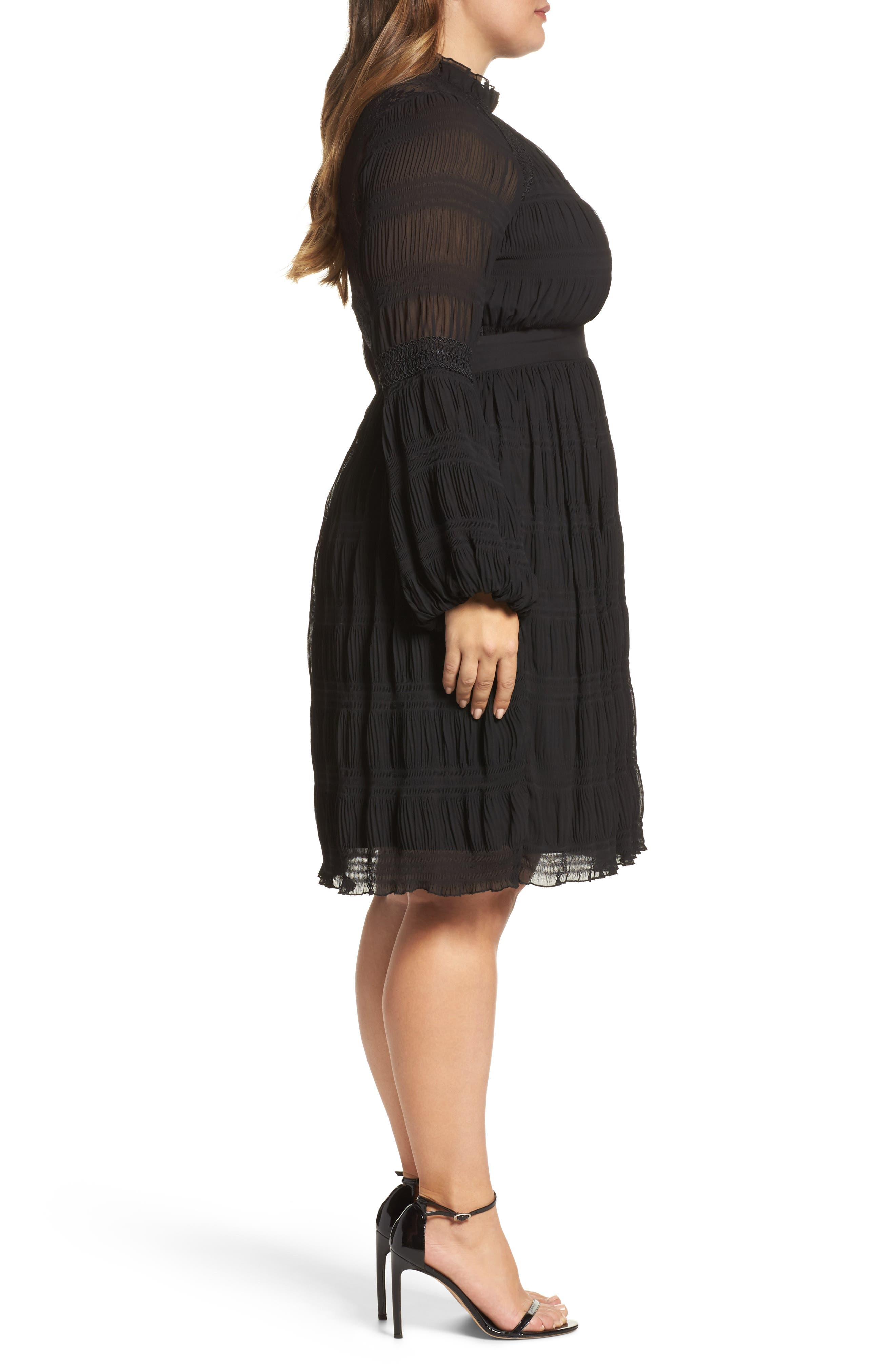 Alternate Image 4  - LOST INK Lace Back Skater Dress (Plus Size)