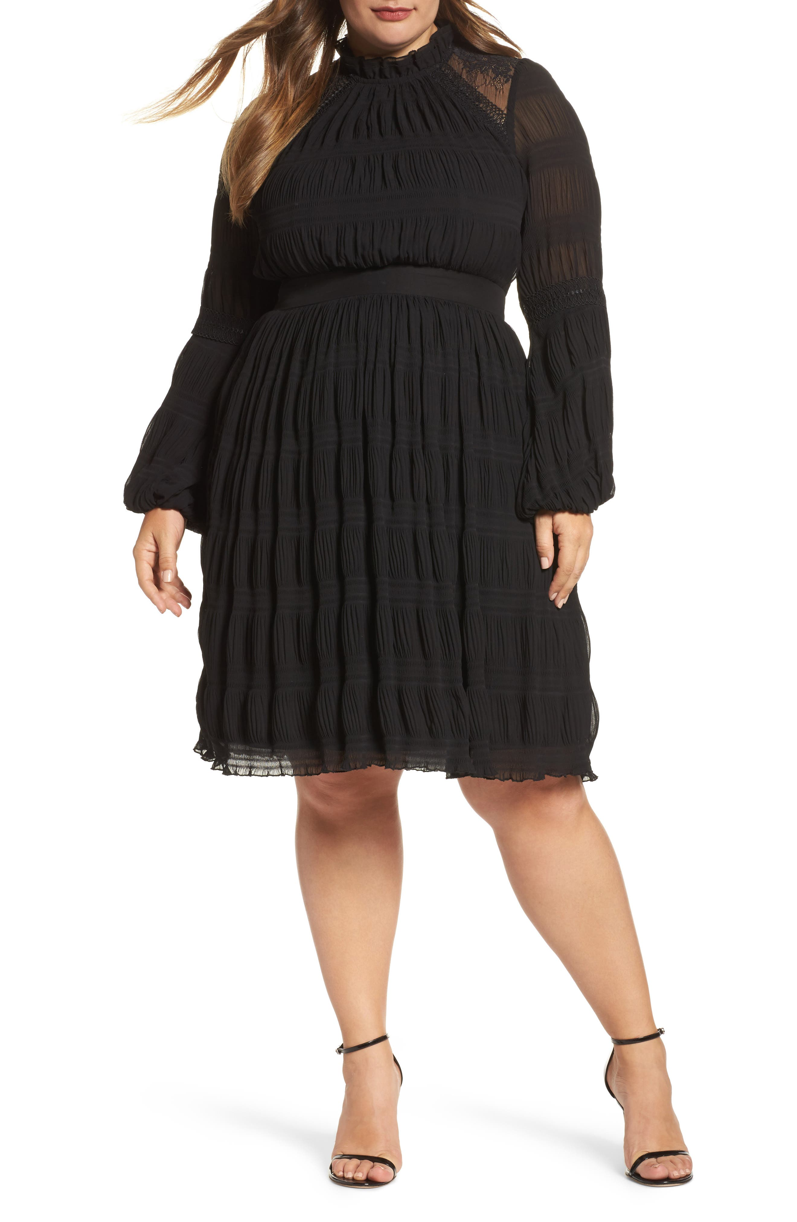 Main Image - LOST INK Lace Back Skater Dress (Plus Size)