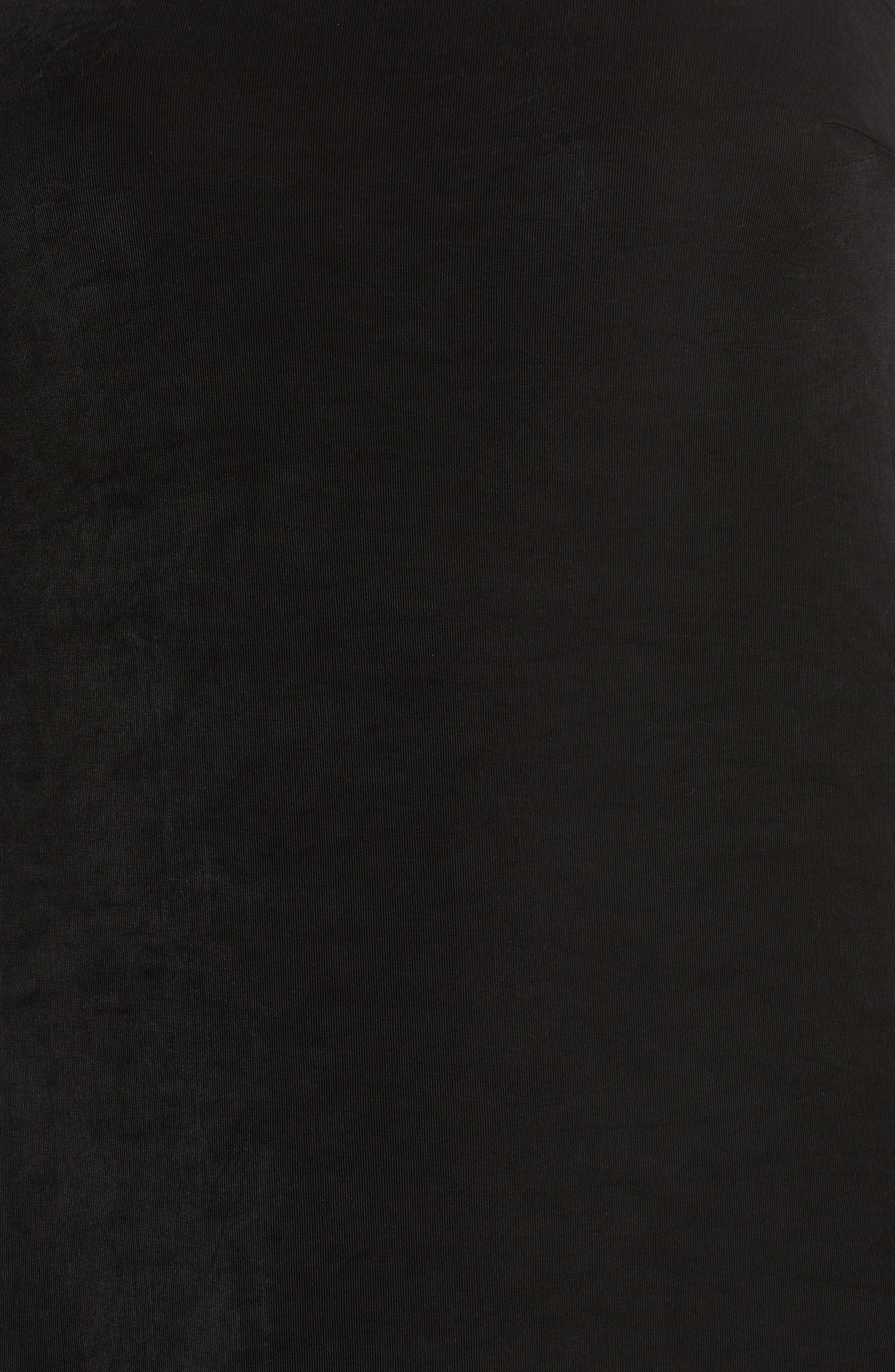 Alternate Image 5  - Vikki Vi Three-Quarter Sleeve Stretch Knit A-Line Dress (Plus Size)