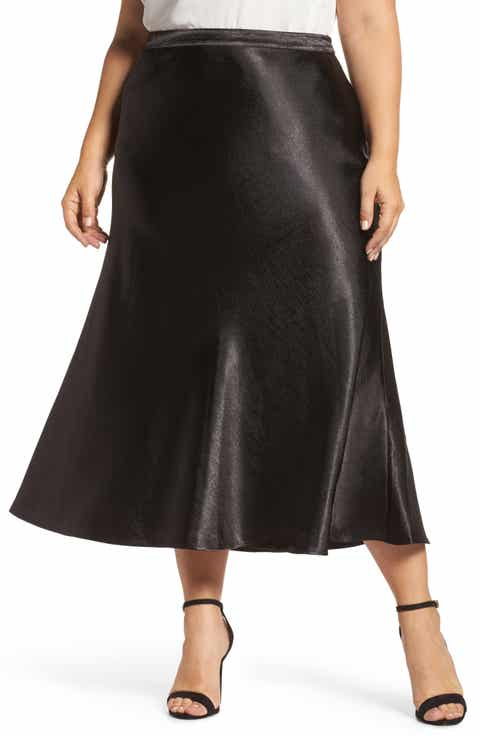 Vince Camuto Hammered Satin Maxi Skirt (Plus Size)