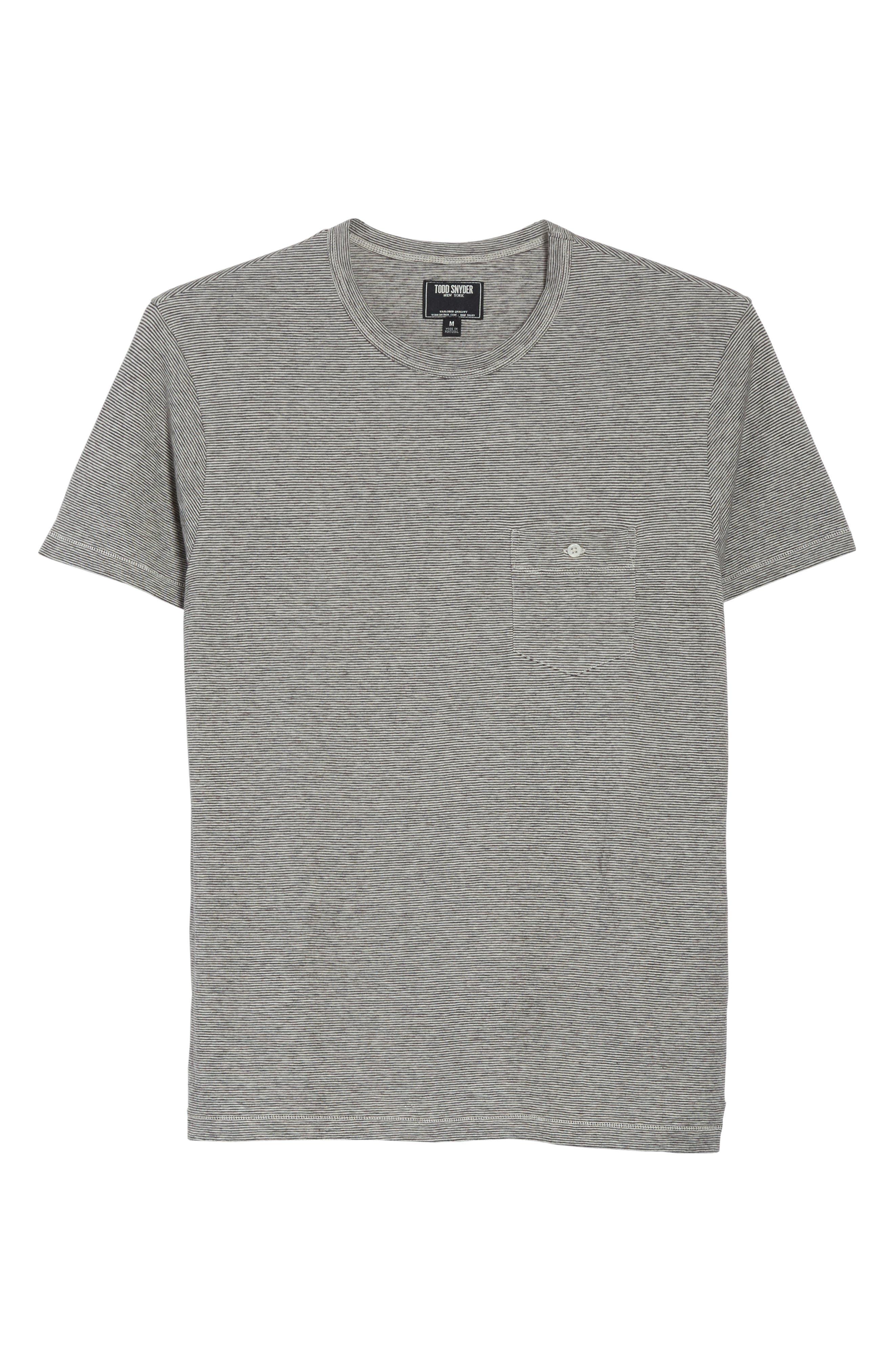 Microstripe Pocket T-Shirt,                             Alternate thumbnail 6, color,                             Ivory