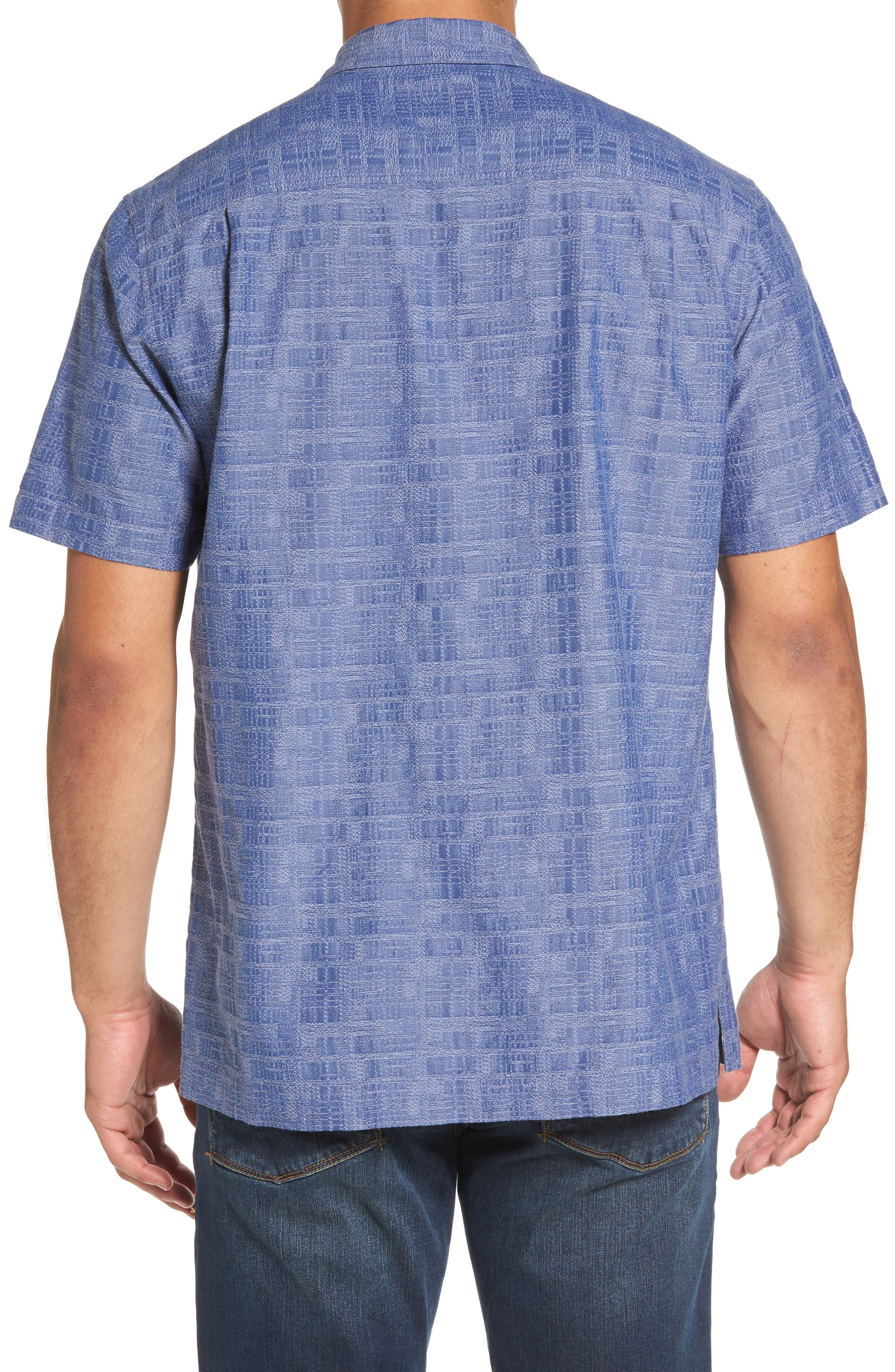 Getaway Grid Silk Blend Camp Shirt,                             Alternate thumbnail 2, color,                             Sanibel Blue