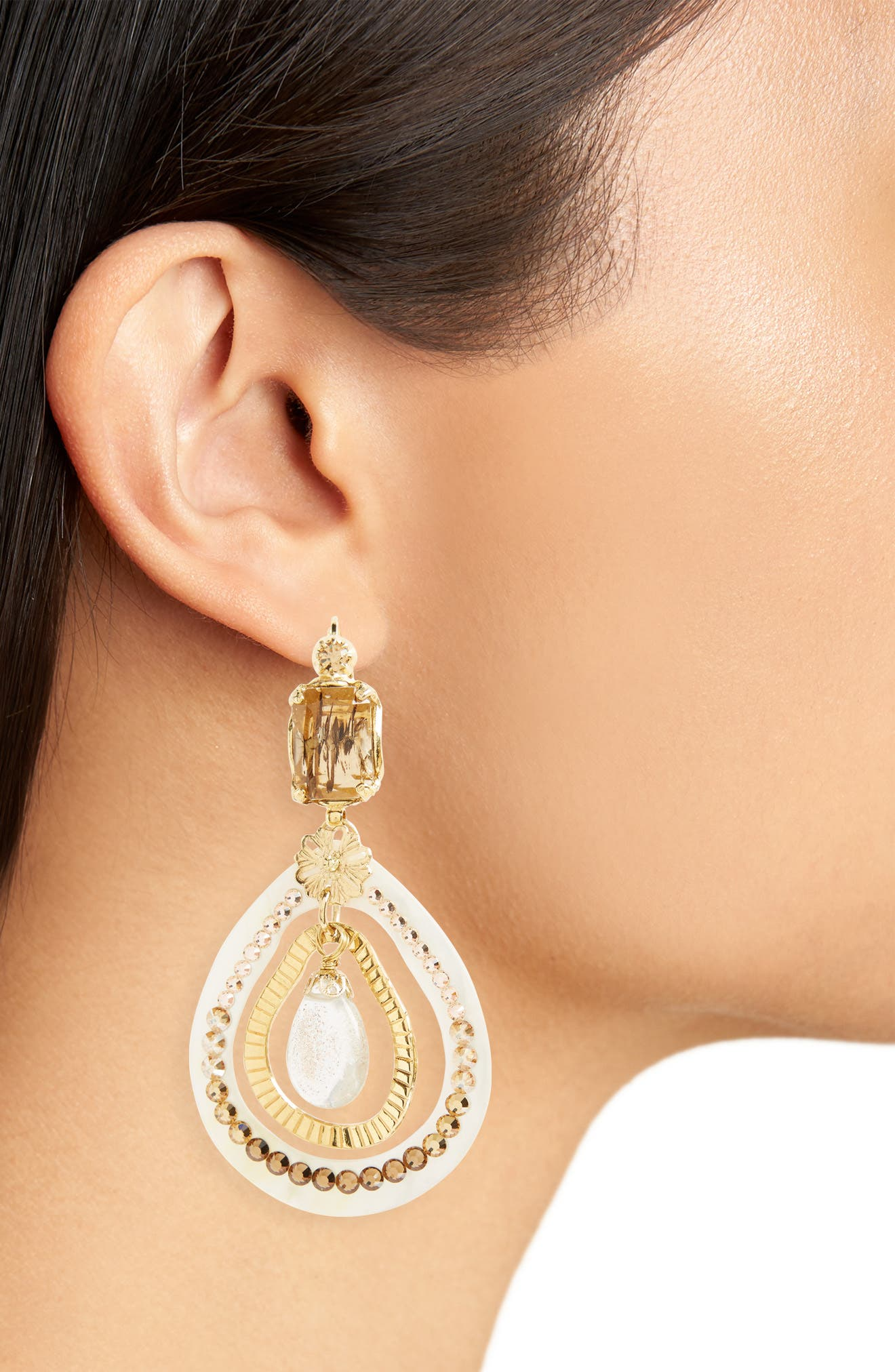 Regina Clip Earrings,                             Alternate thumbnail 2, color,                             Brown/ Gold