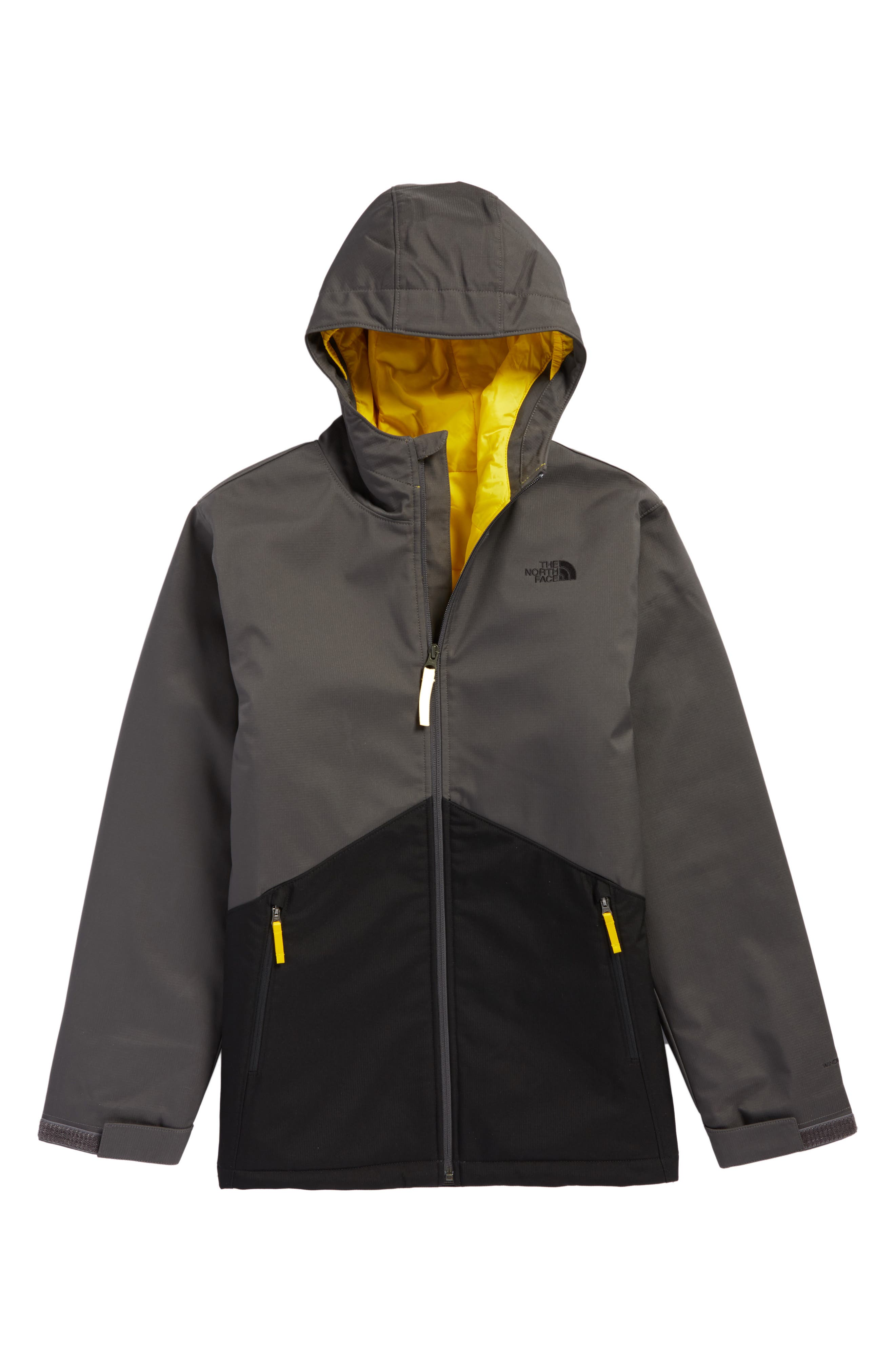 'Apex Elevation' Hooded Jacket,                         Main,                         color, Graphite Grey/ Canary Yellow
