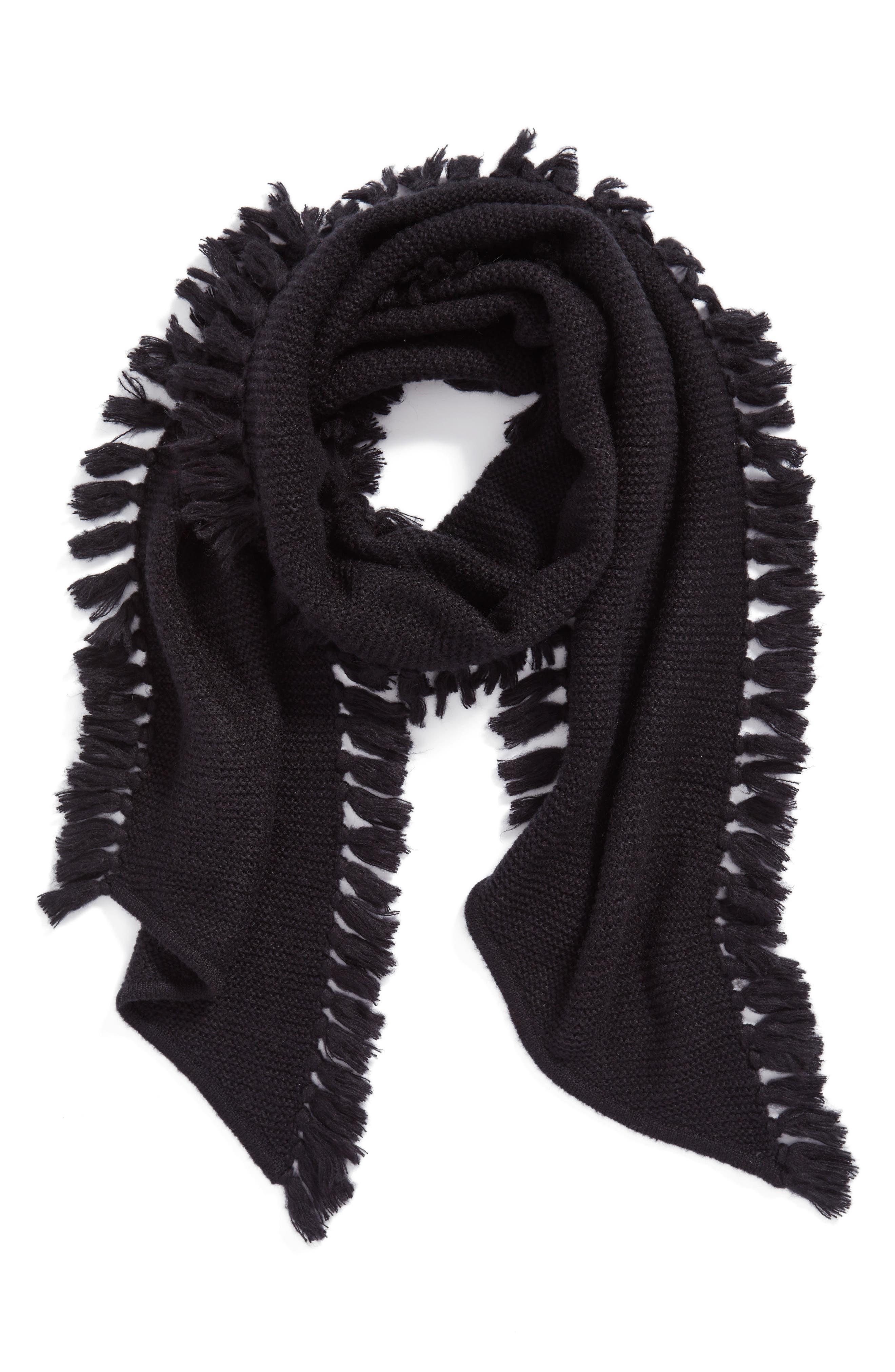 Asymmetrical Fringed Muffler,                             Main thumbnail 1, color,                             Black