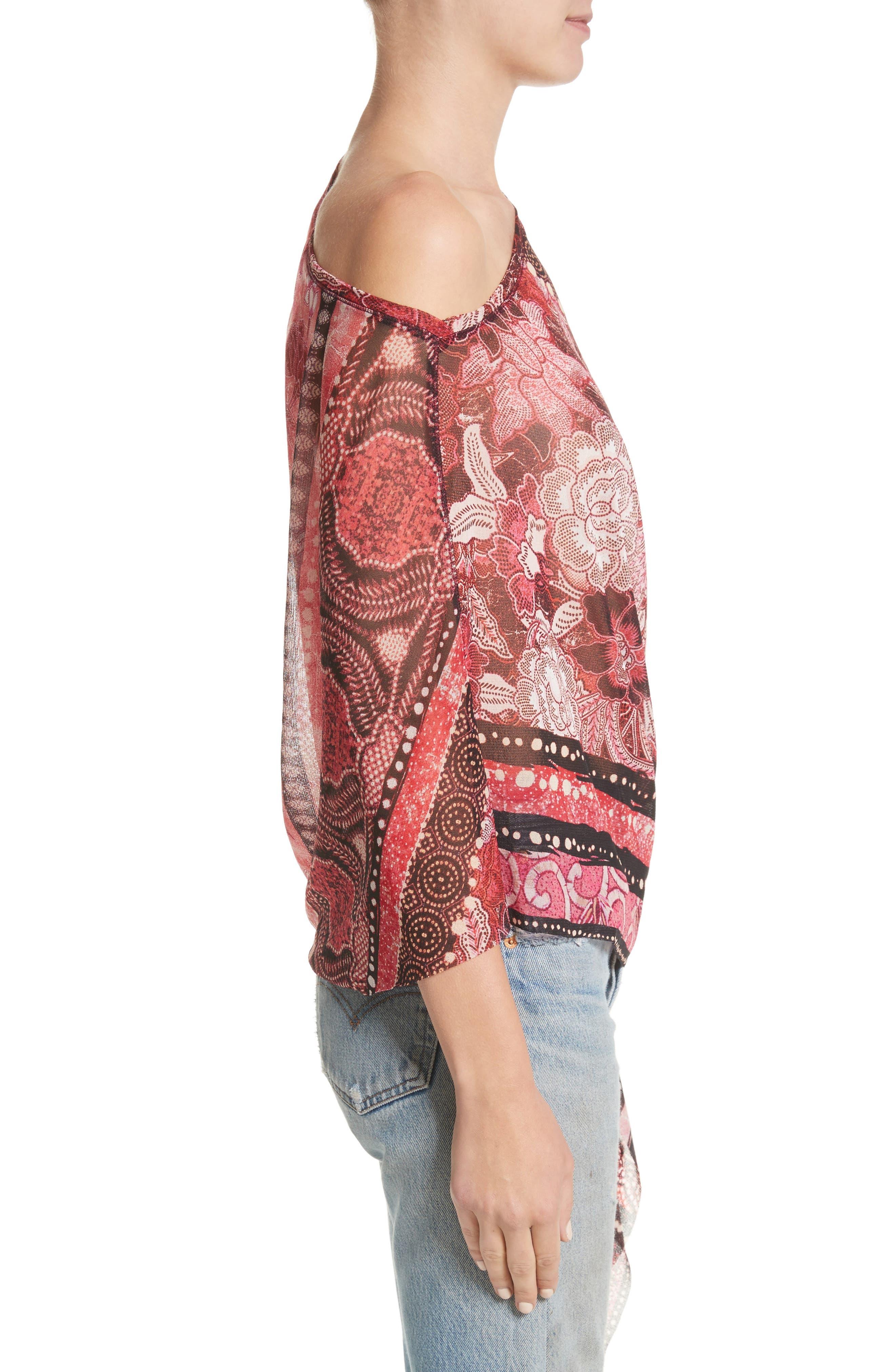 Alternate Image 3  - Fuzzi Print Tulle Handkerchief Hem Shawl Top