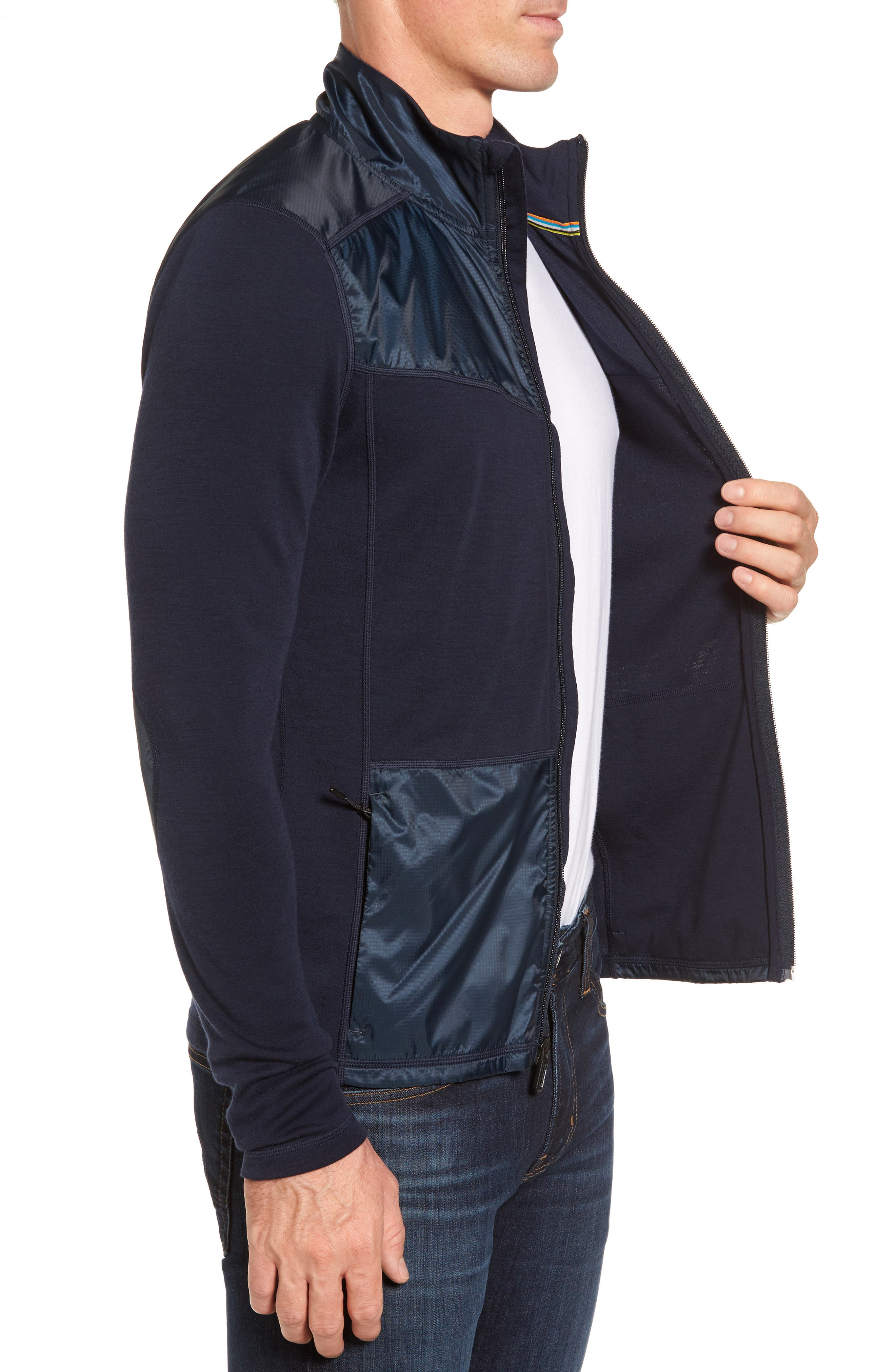 250 Sport Merino Wool Zip Jacket,                             Alternate thumbnail 3, color,                             Deep Navy