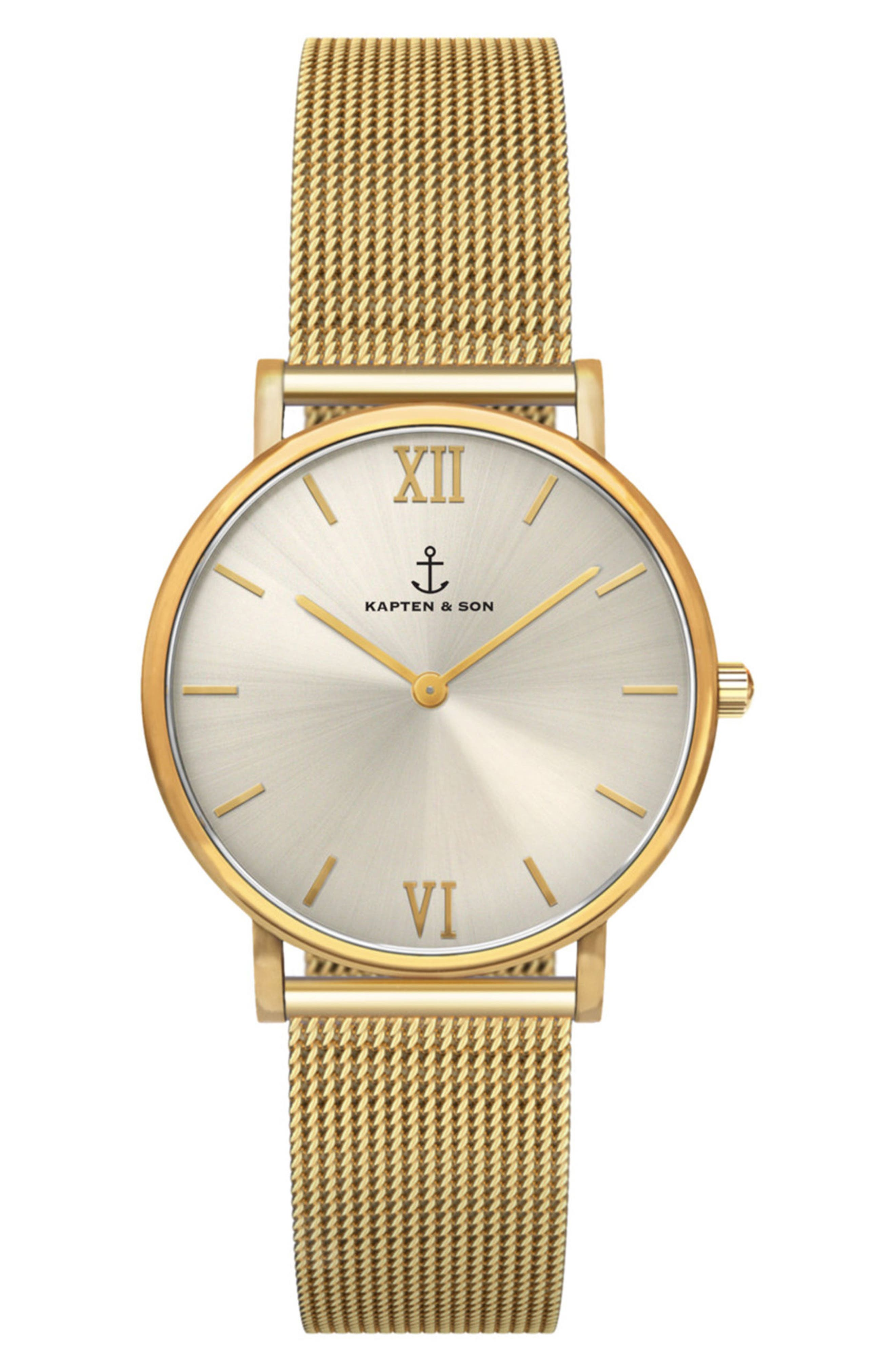Joy Mesh Strap Watch, 32mm,                         Main,                         color, Gold/ Silver/ Gold