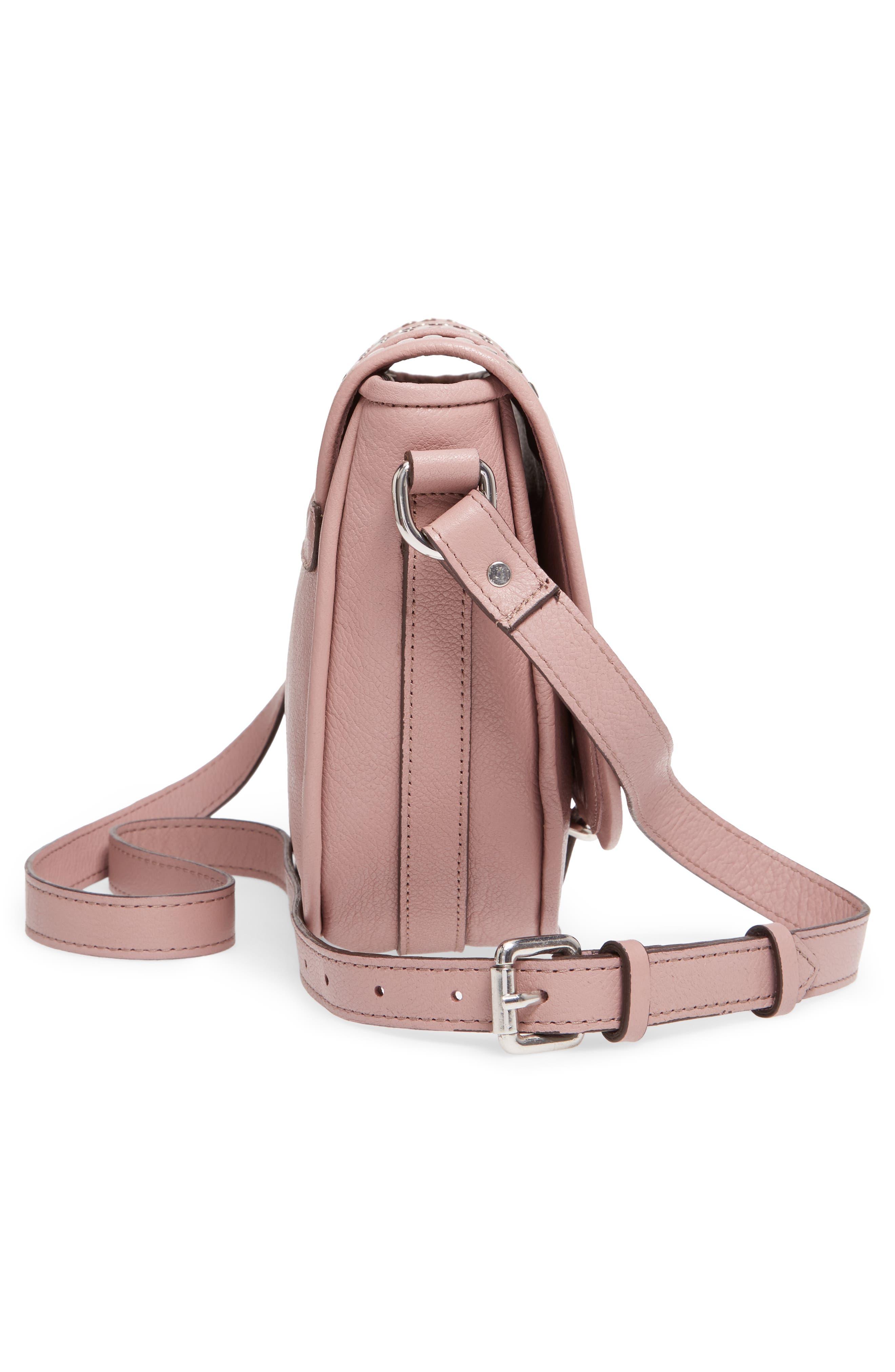 Premium Leather Studded Shoulder Bag,                             Alternate thumbnail 5, color,                             Blush