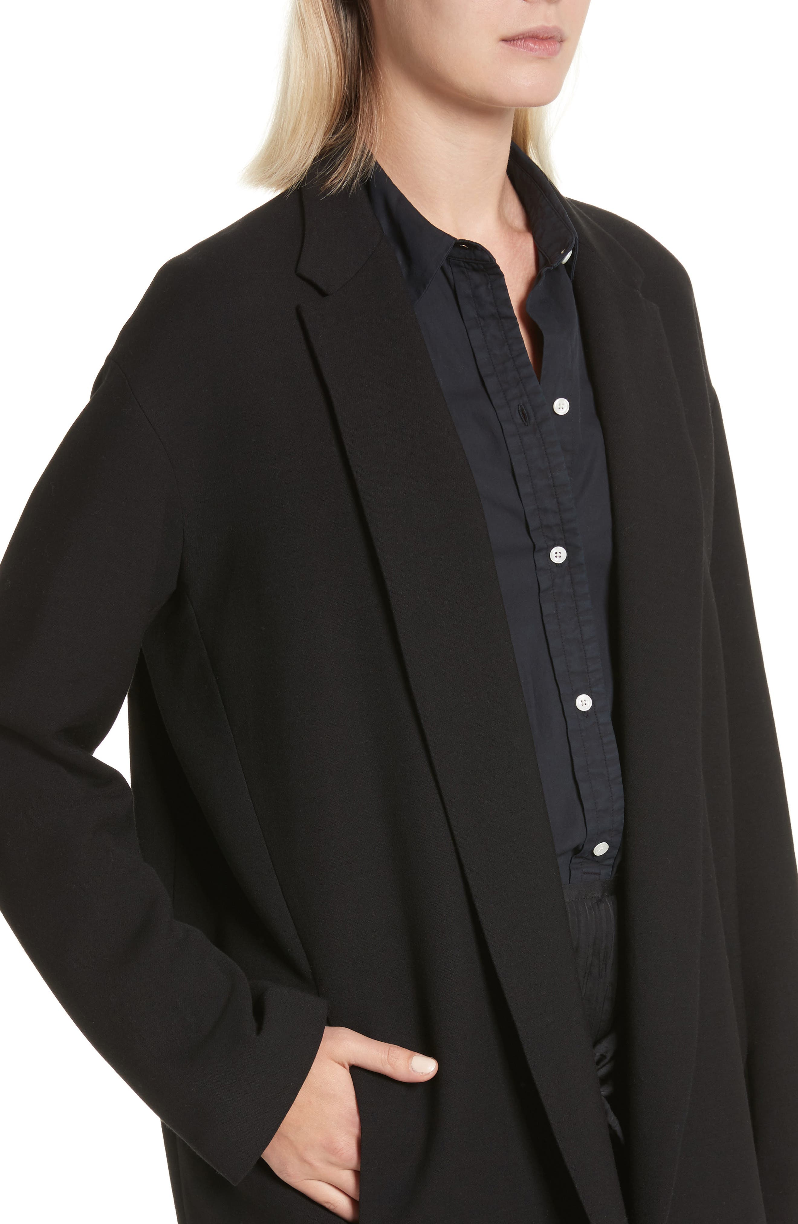 Open Front Blazer Coat,                             Alternate thumbnail 4, color,                             Black