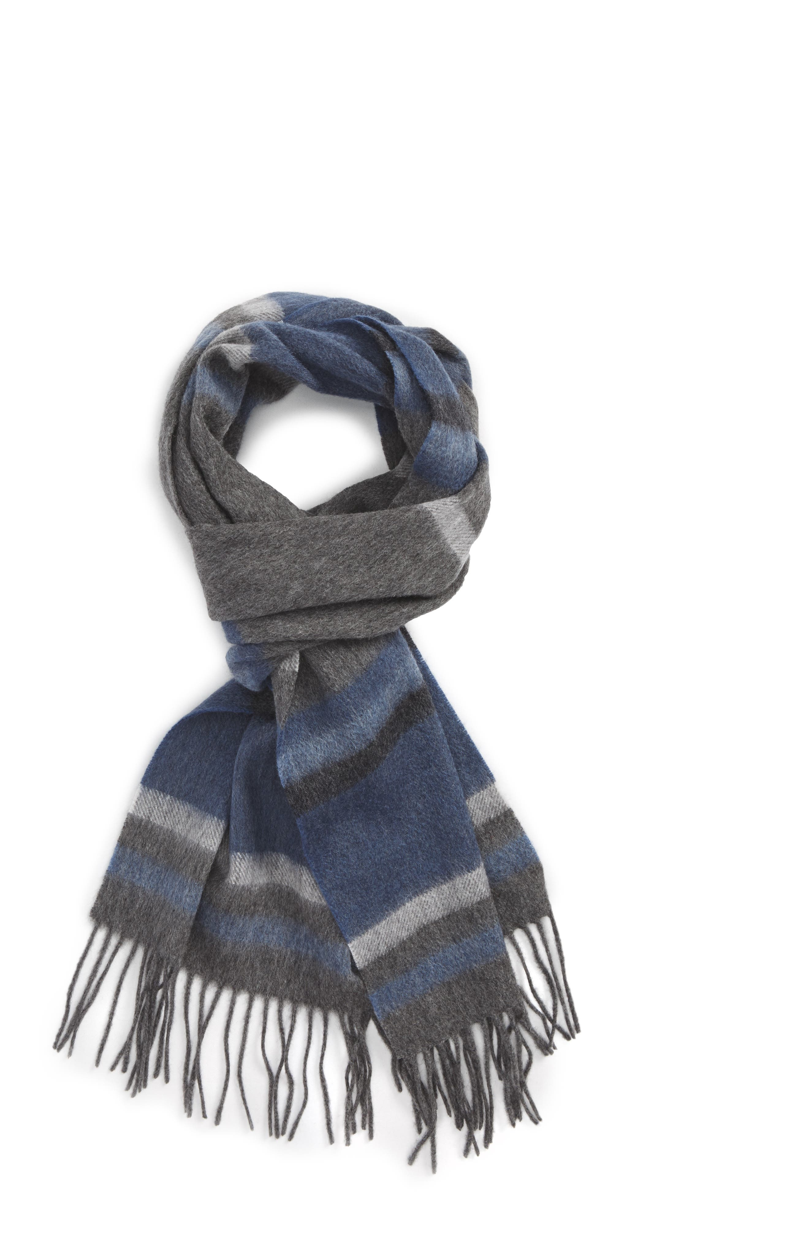 Multistripe Lambswool Scarf,                             Main thumbnail 1, color,                             Grey- Blue Multi Stripe