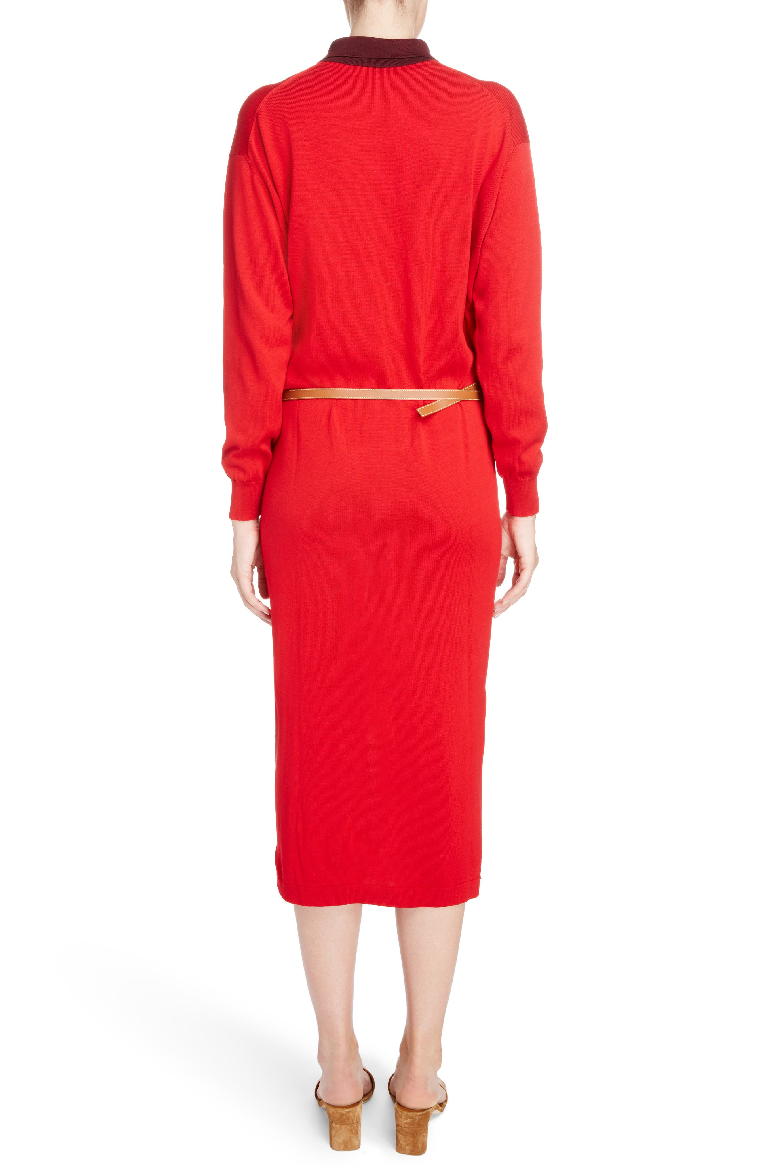 Belted Polo Dress,                             Alternate thumbnail 2, color,                             Red/ Burgundy