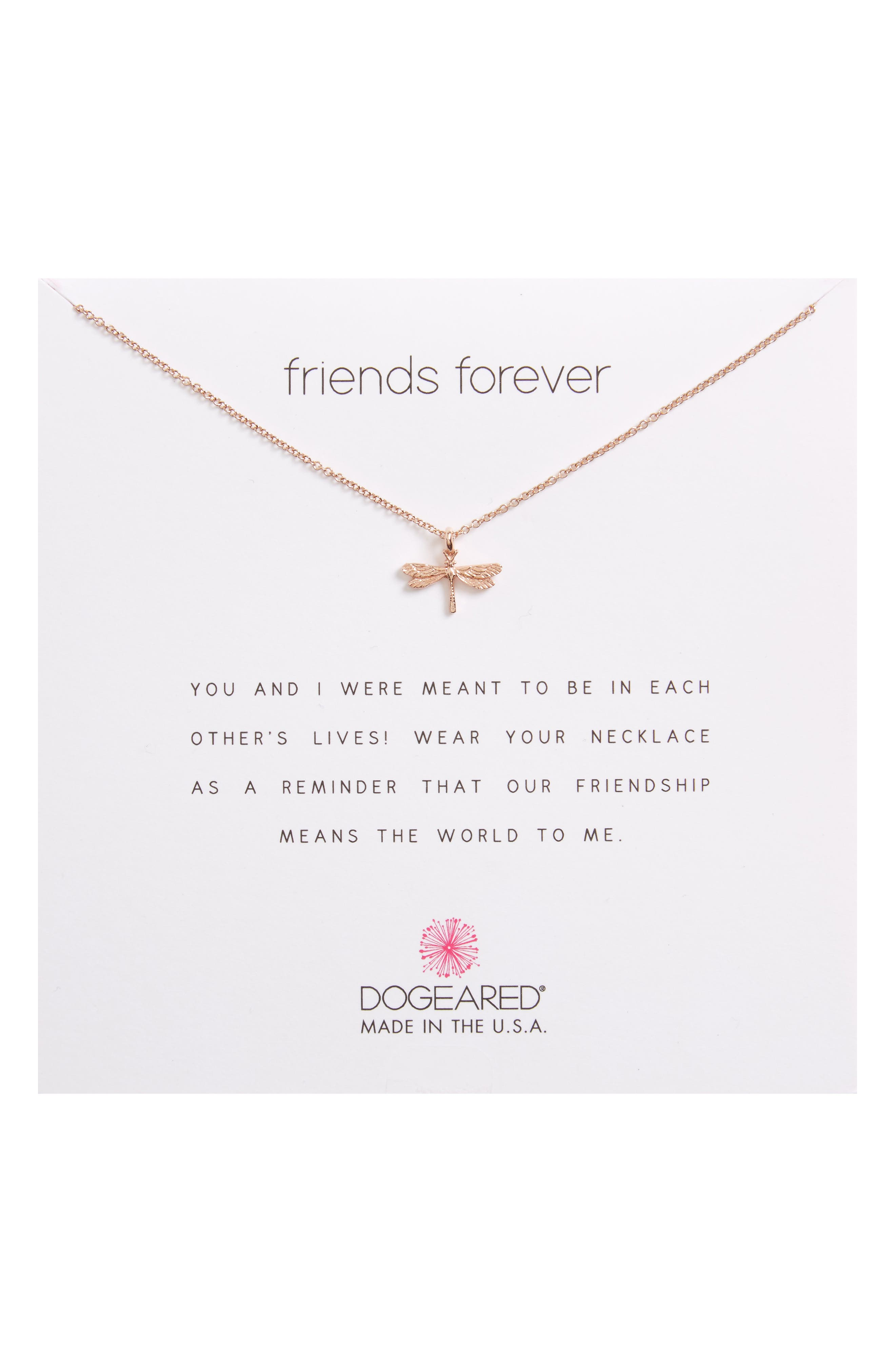 Friends Forever Dragonfly Pendant Necklace,                         Main,                         color, Rose Gold