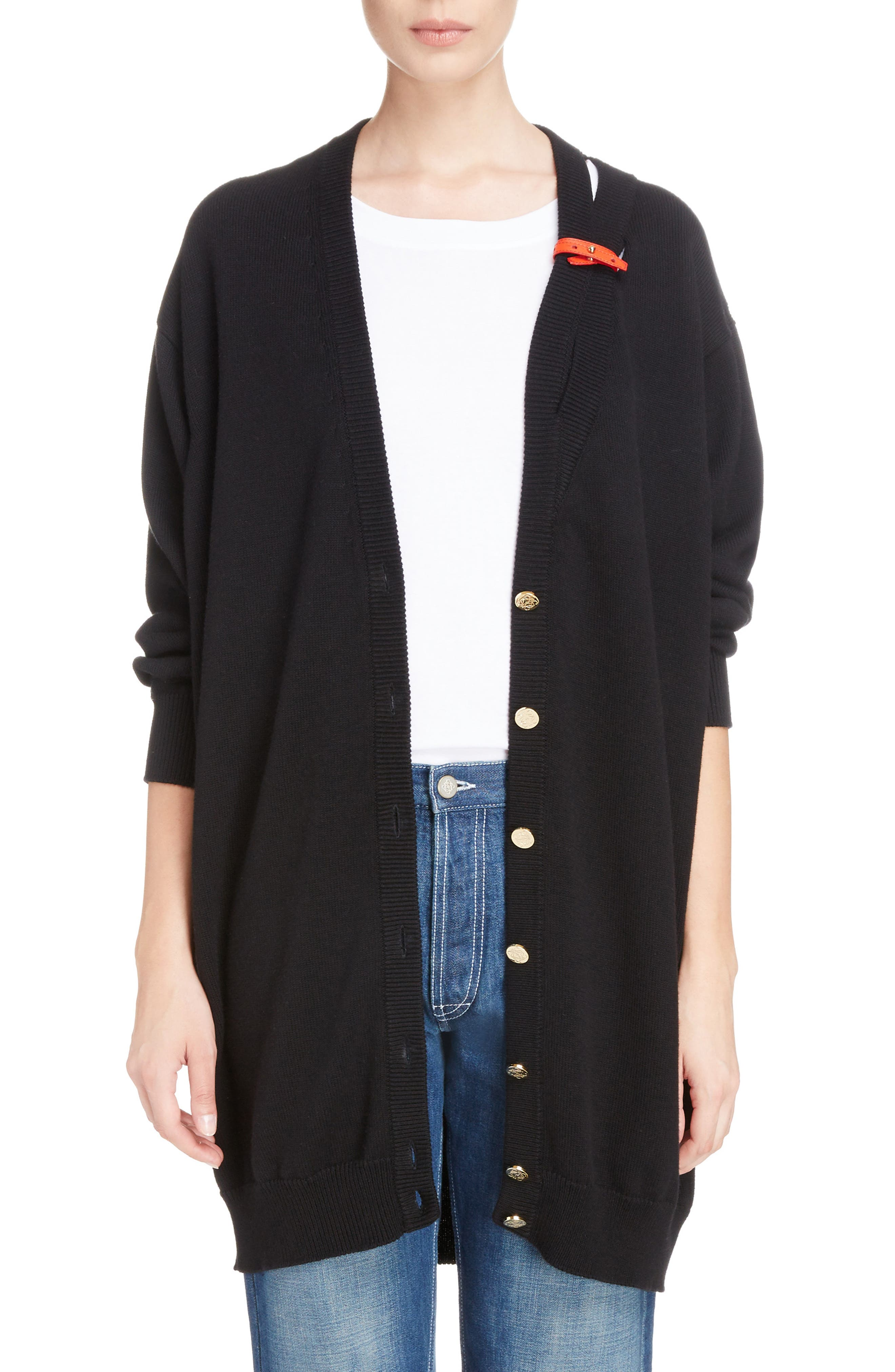 Loewe Leather Band Cotton & Cashmere Cardigan