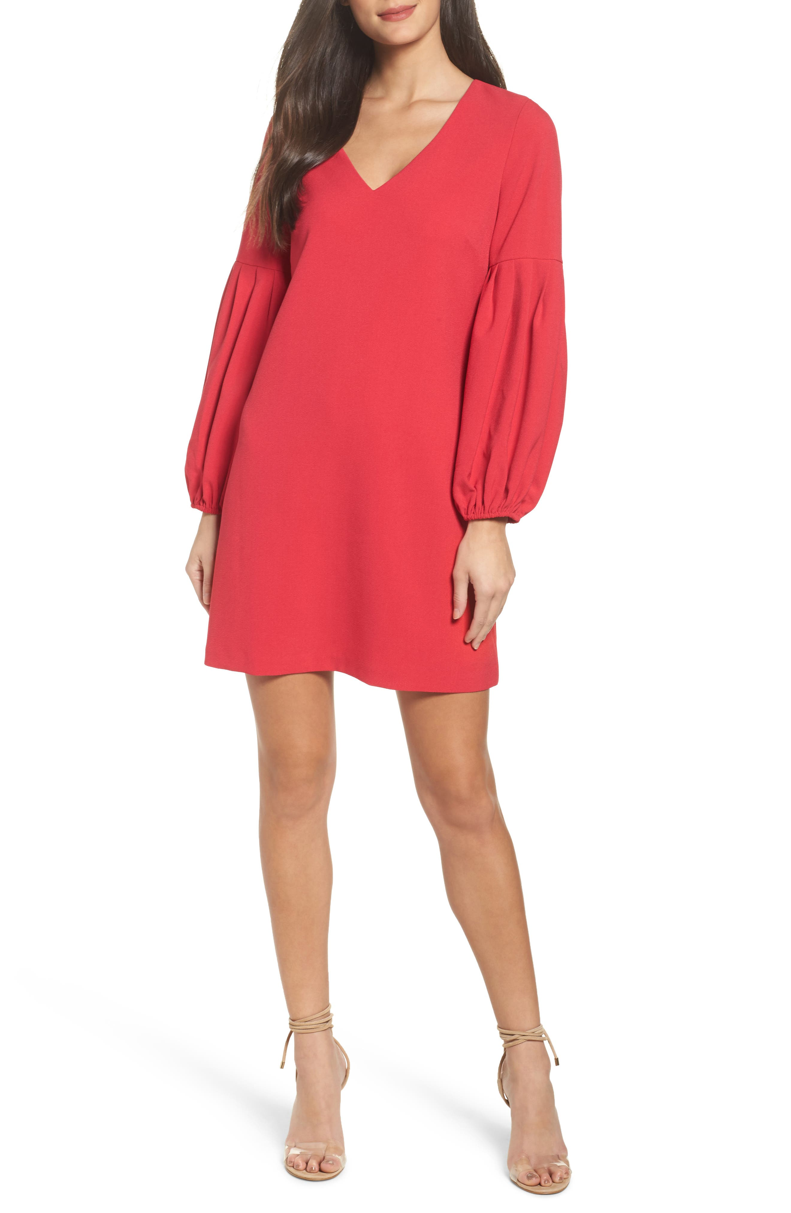 Bloused Sleeve Shift Dress,                         Main,                         color, Red Barberry