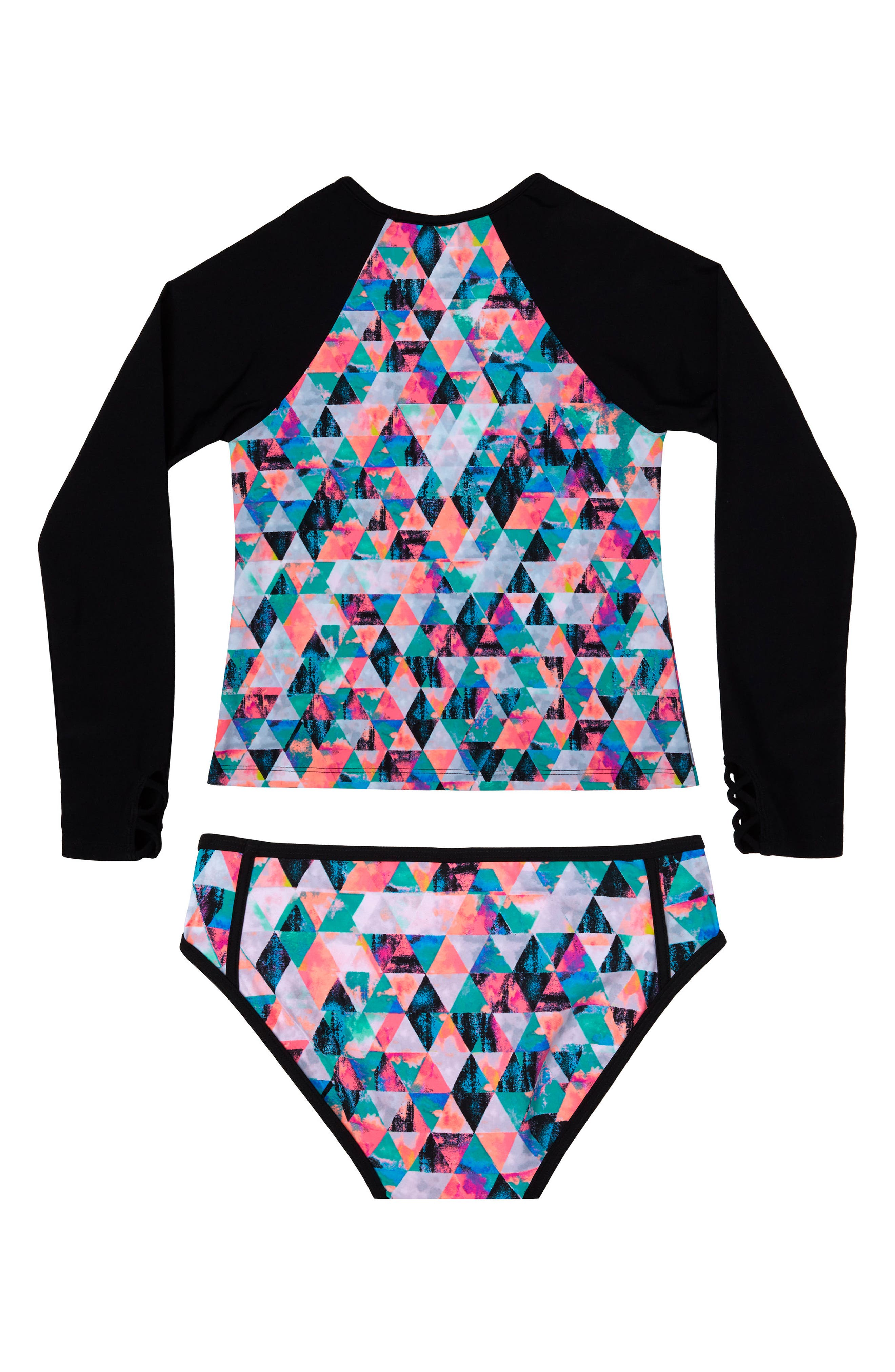 Kaleidoscope Daydream Two-Piece Rashguard Swimsuit,                             Alternate thumbnail 2, color,                             Black
