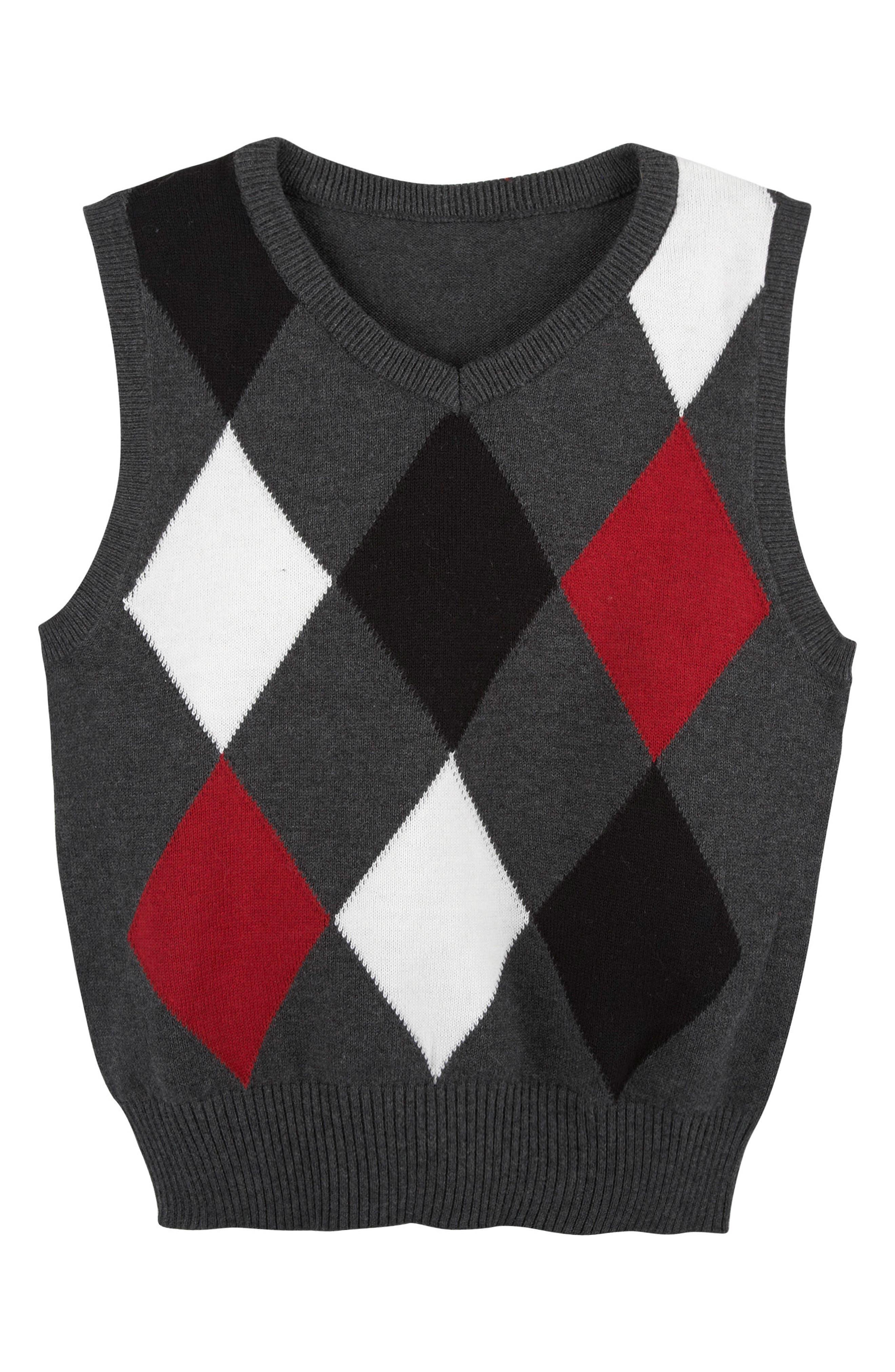 Argyle Sweater Vest,                         Main,                         color, Grey