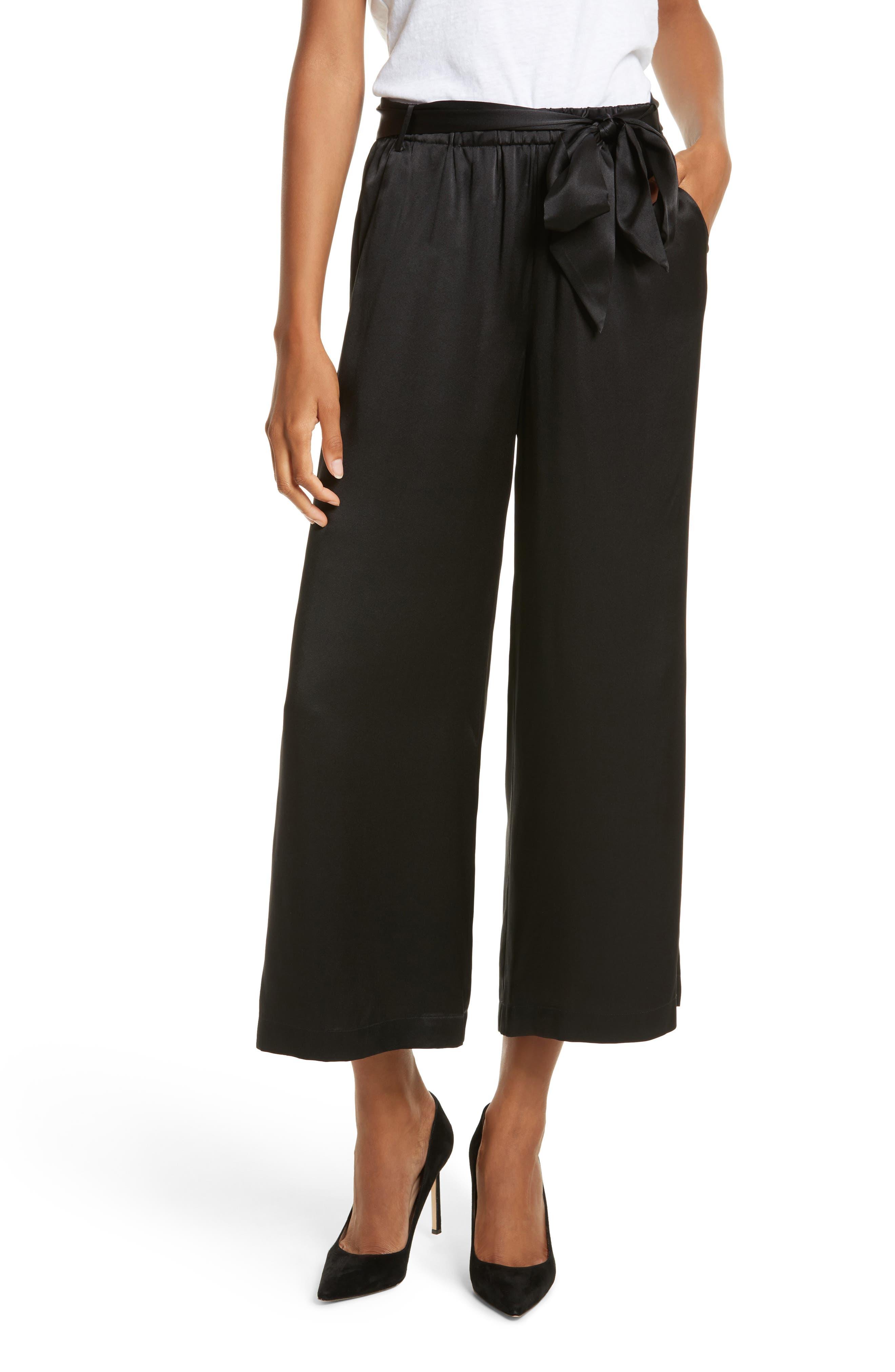 Tie Waist Crop Silk Pants,                         Main,                         color, Noir