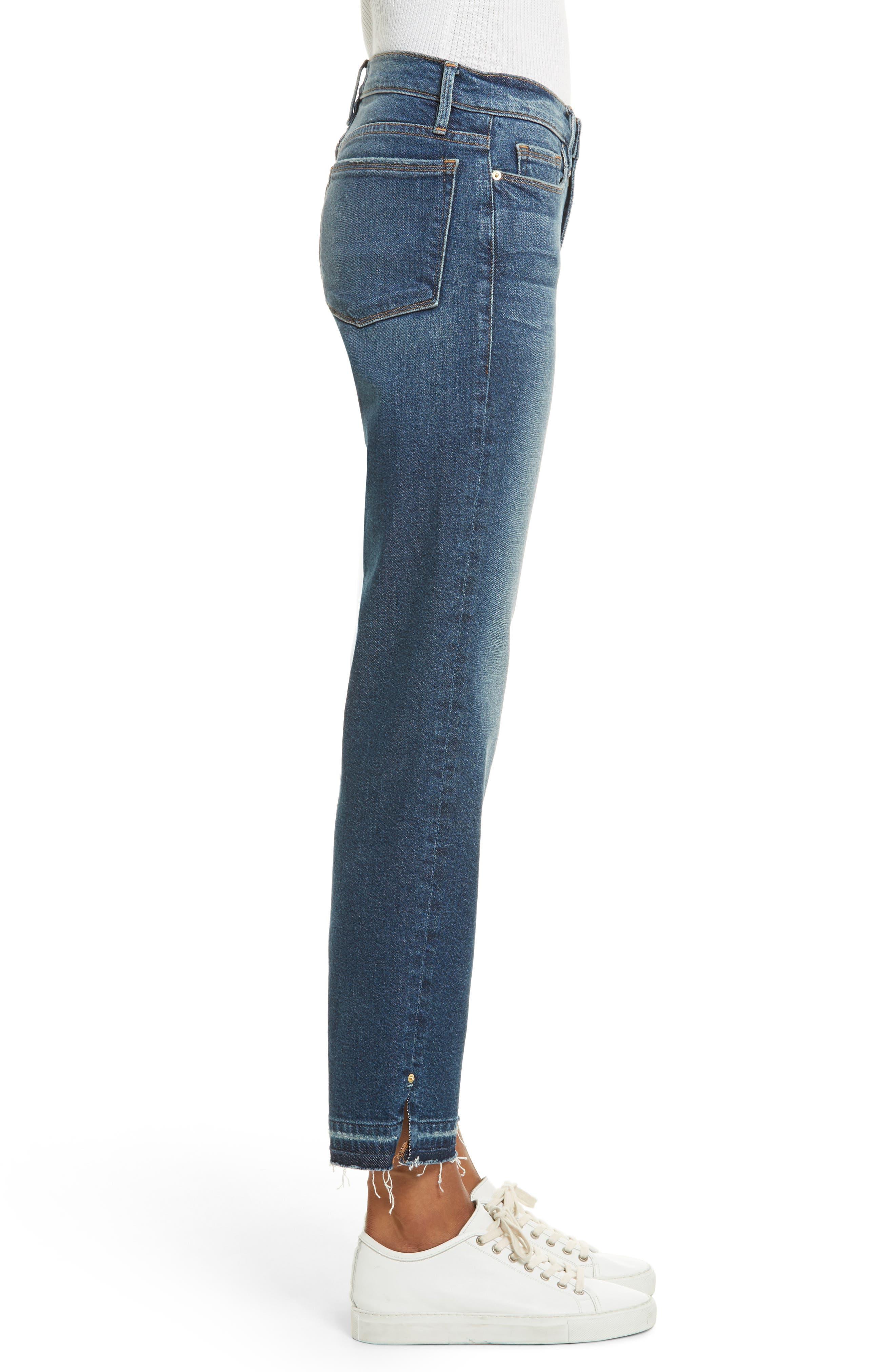 High Waist Released Hem Crop Jeans,                             Alternate thumbnail 4, color,                             Granby