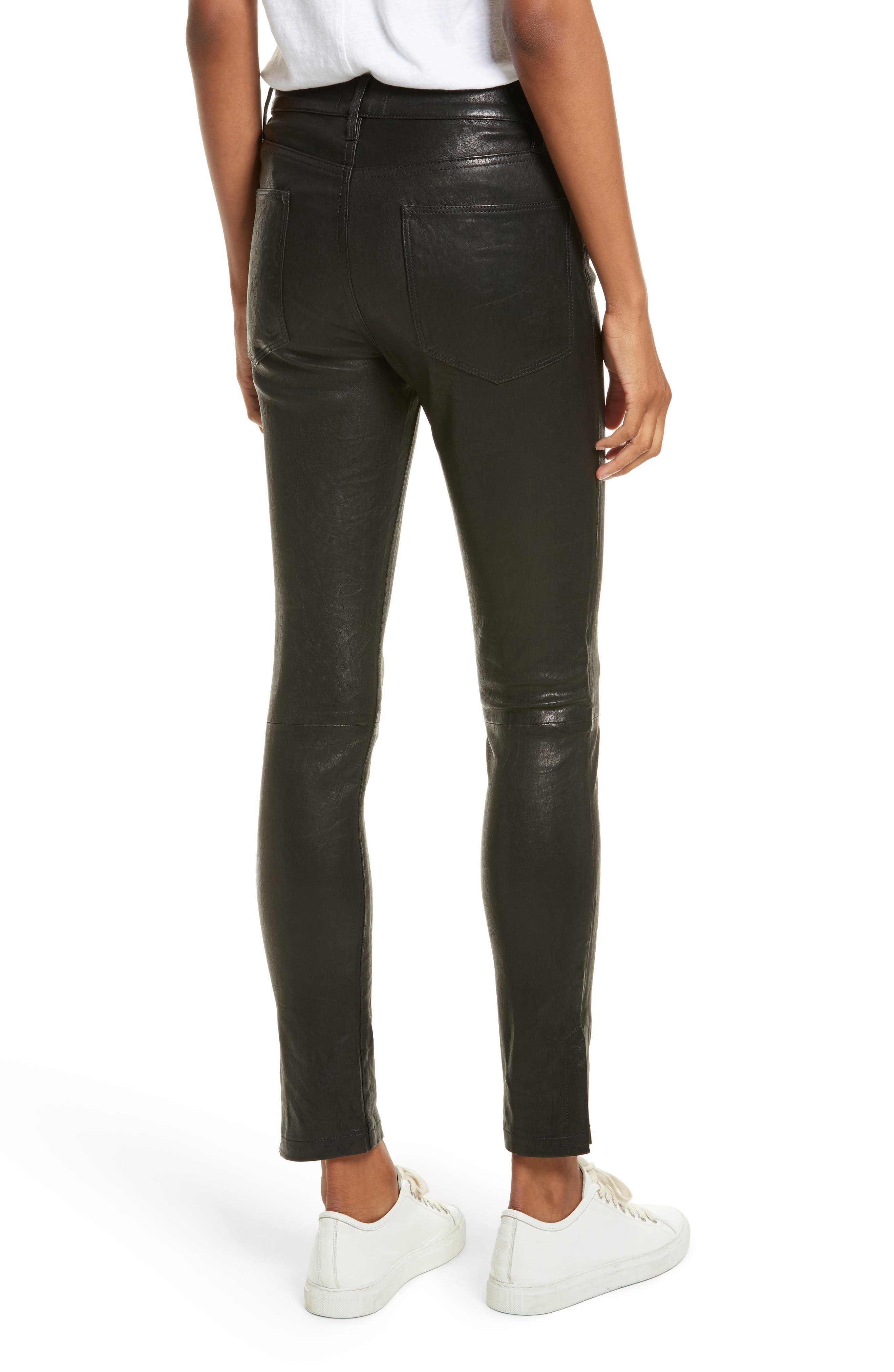 Le High Skinny Slit Leather Pants,                             Alternate thumbnail 2, color,                             Washed Black