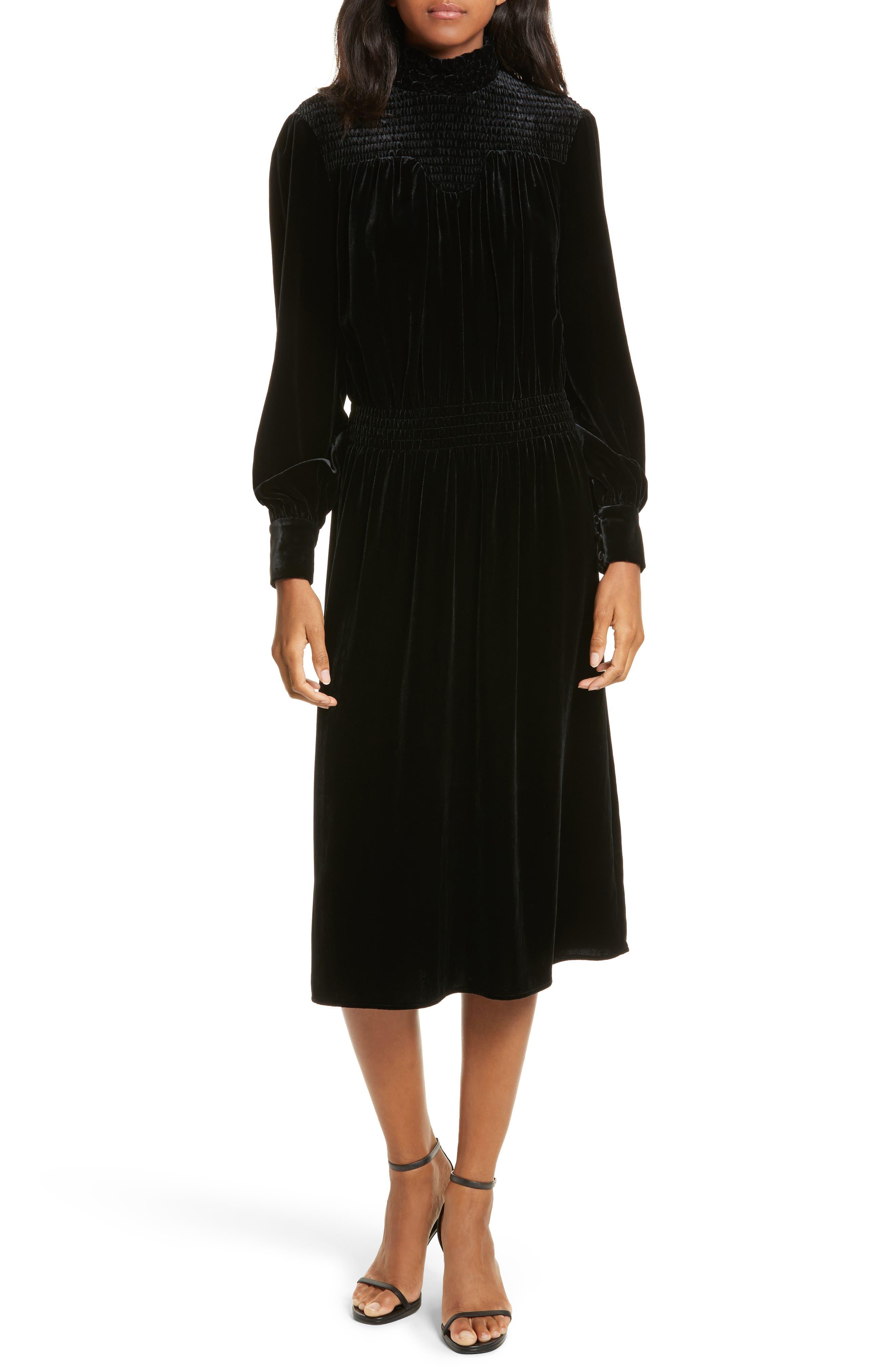FRAME Smocked Velvet Midi Dress