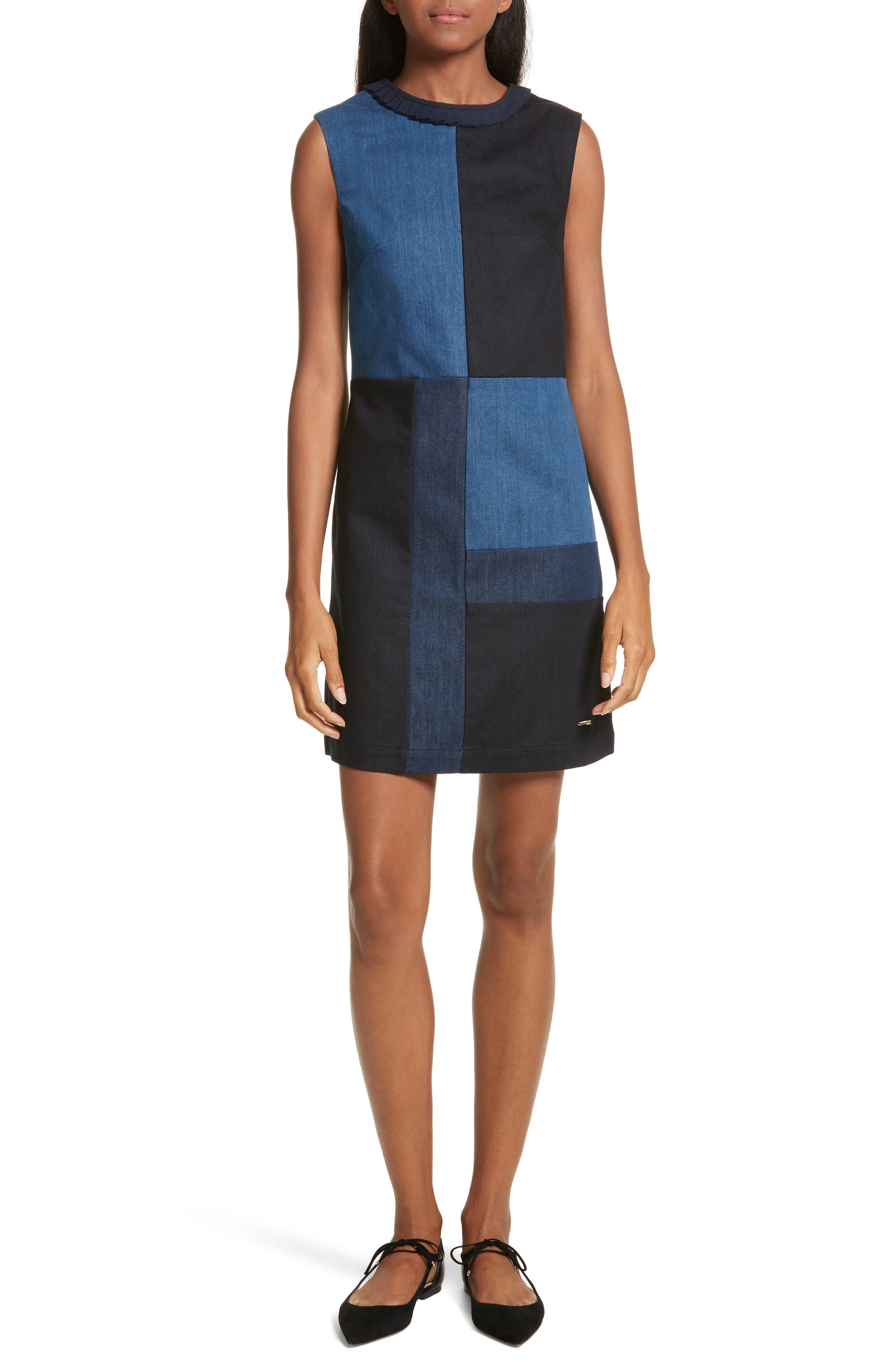 Ted Baker Morfee London Colorblock Denim A-Line Dress,                             Main thumbnail 1, color,                             Mid Wash